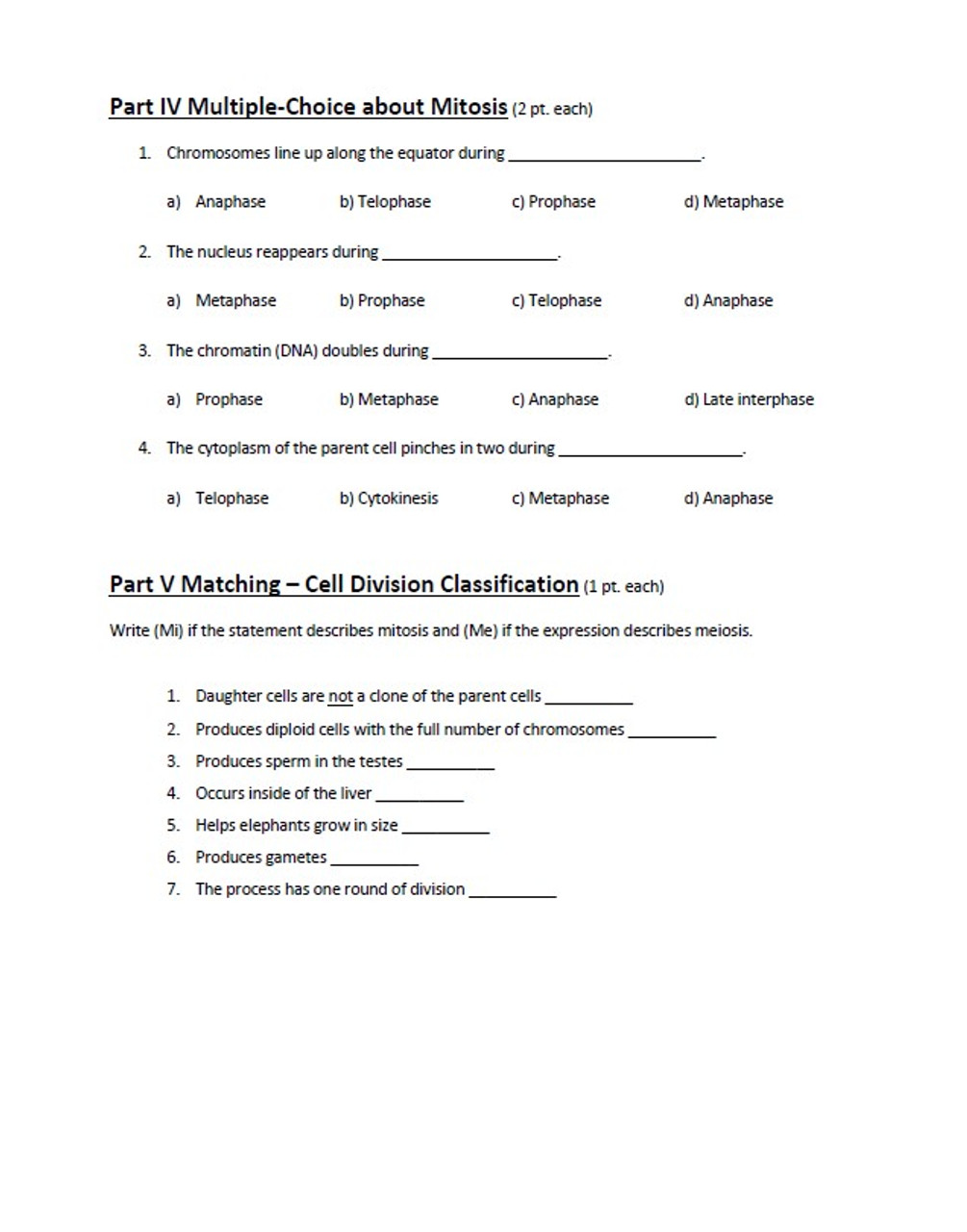 Mitosis and Meiosis Homework Quiz Bundle