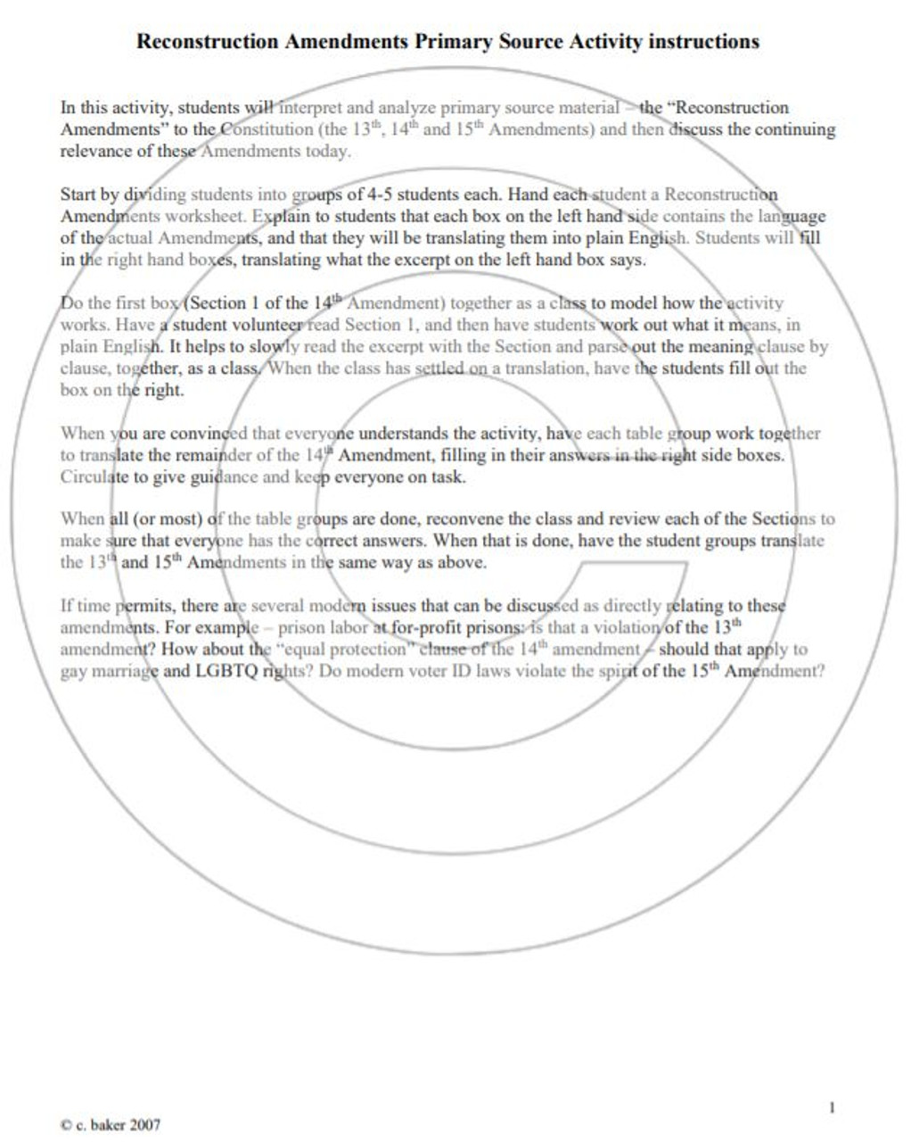 Reconstruction Amendments Primary Source Analysis Activity