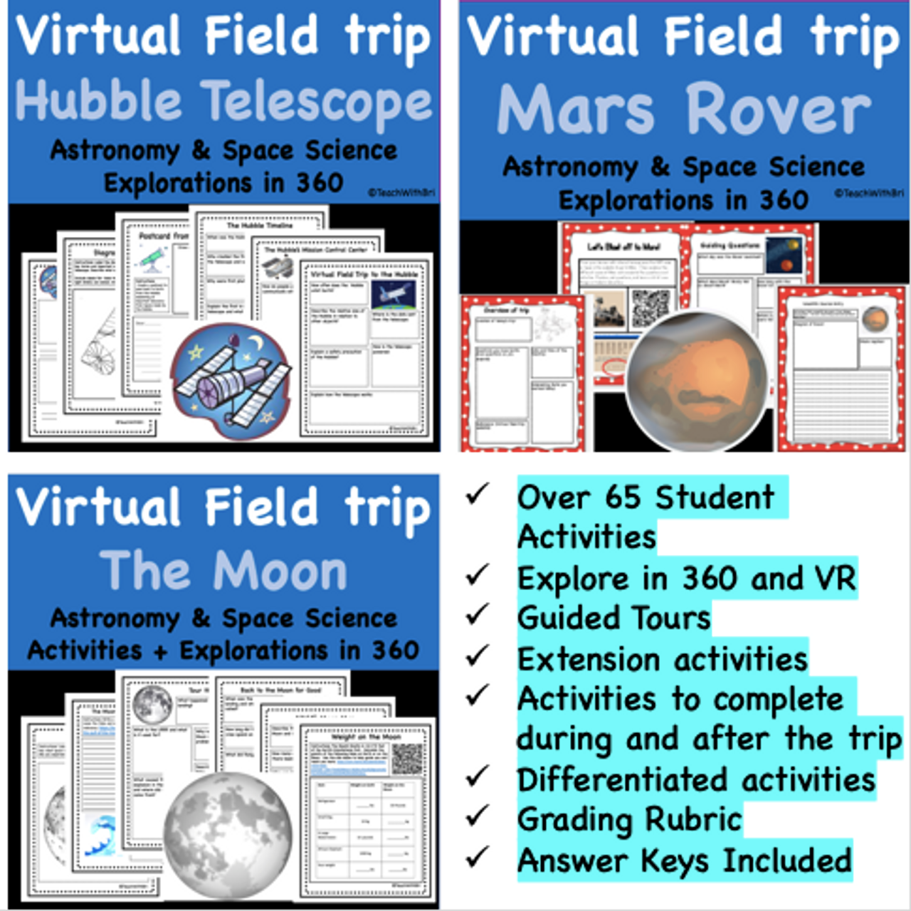 Discount Bundle- Space Virtual Field Trips Pack for Middle & High School- 6 Trips for the Price of 4!