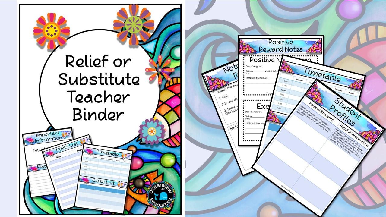 Sub Binder, Relief Teacher Binder - Doodle Flowers Design