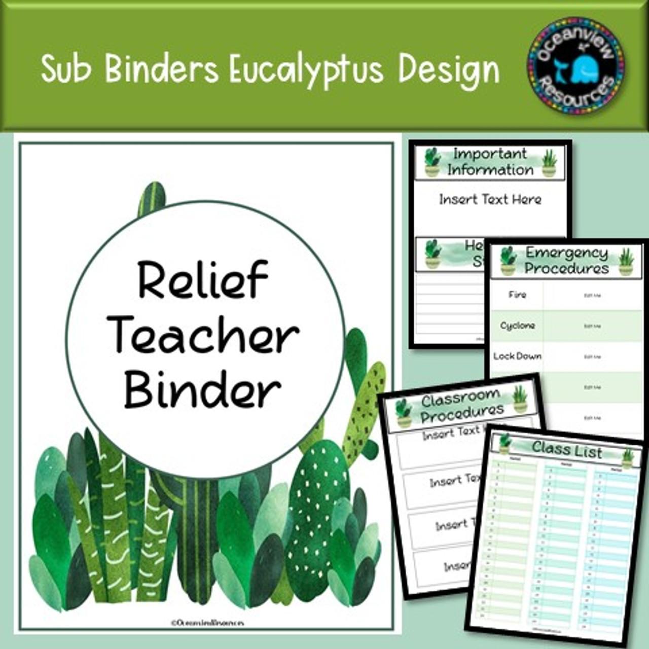Sub Binder, Relief Teacher Binder - Cactus Design