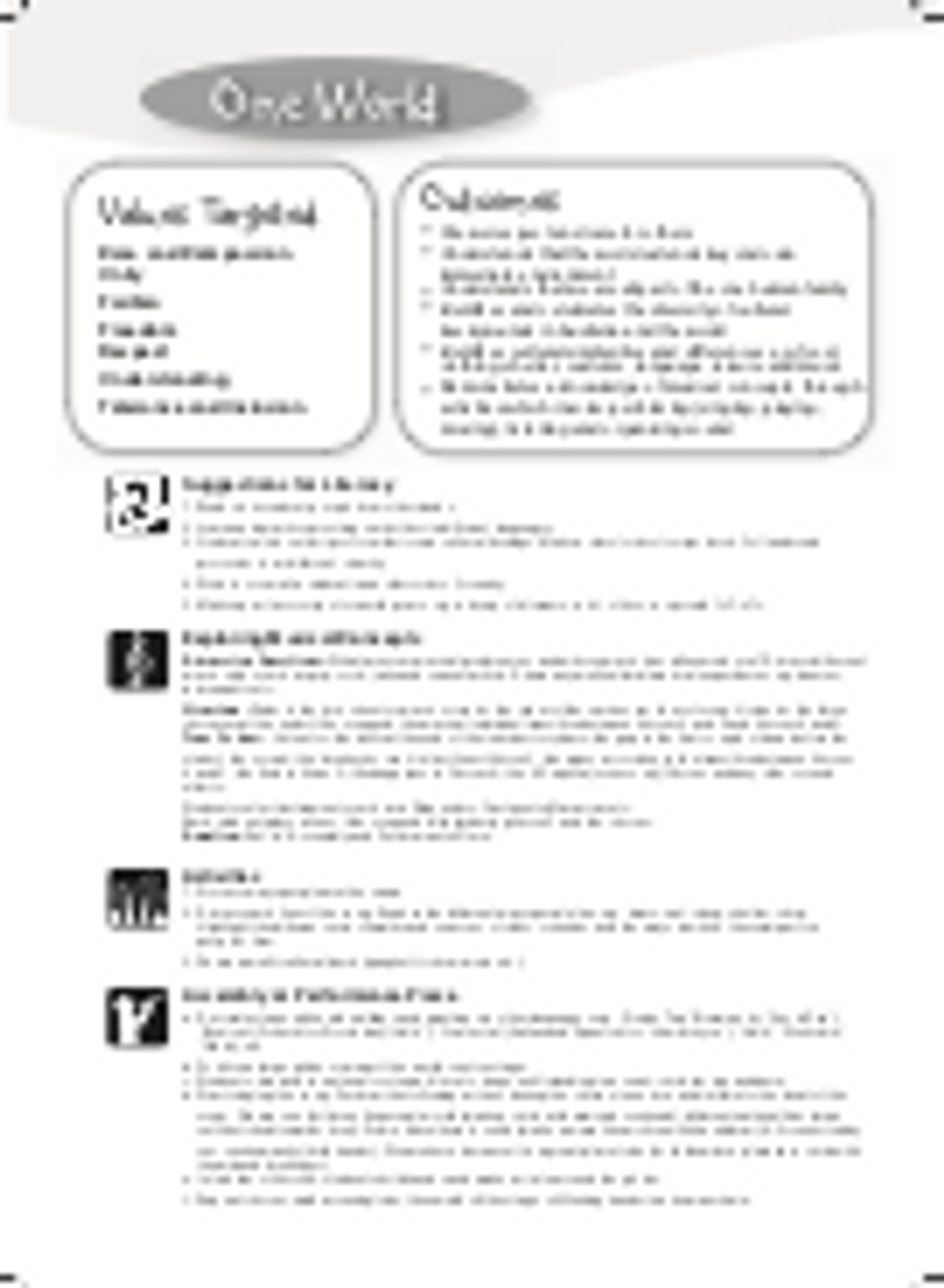 Learning & Values Outcomes and Suggested Activities Image
