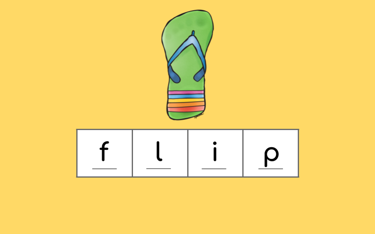 Students are shown a picture and asked to spell the word.  Letters will appear one at a time for them to check.