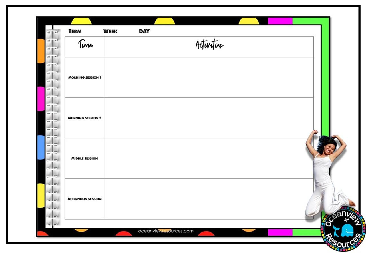 Teacher Planner Binder- Black with bright polka dots