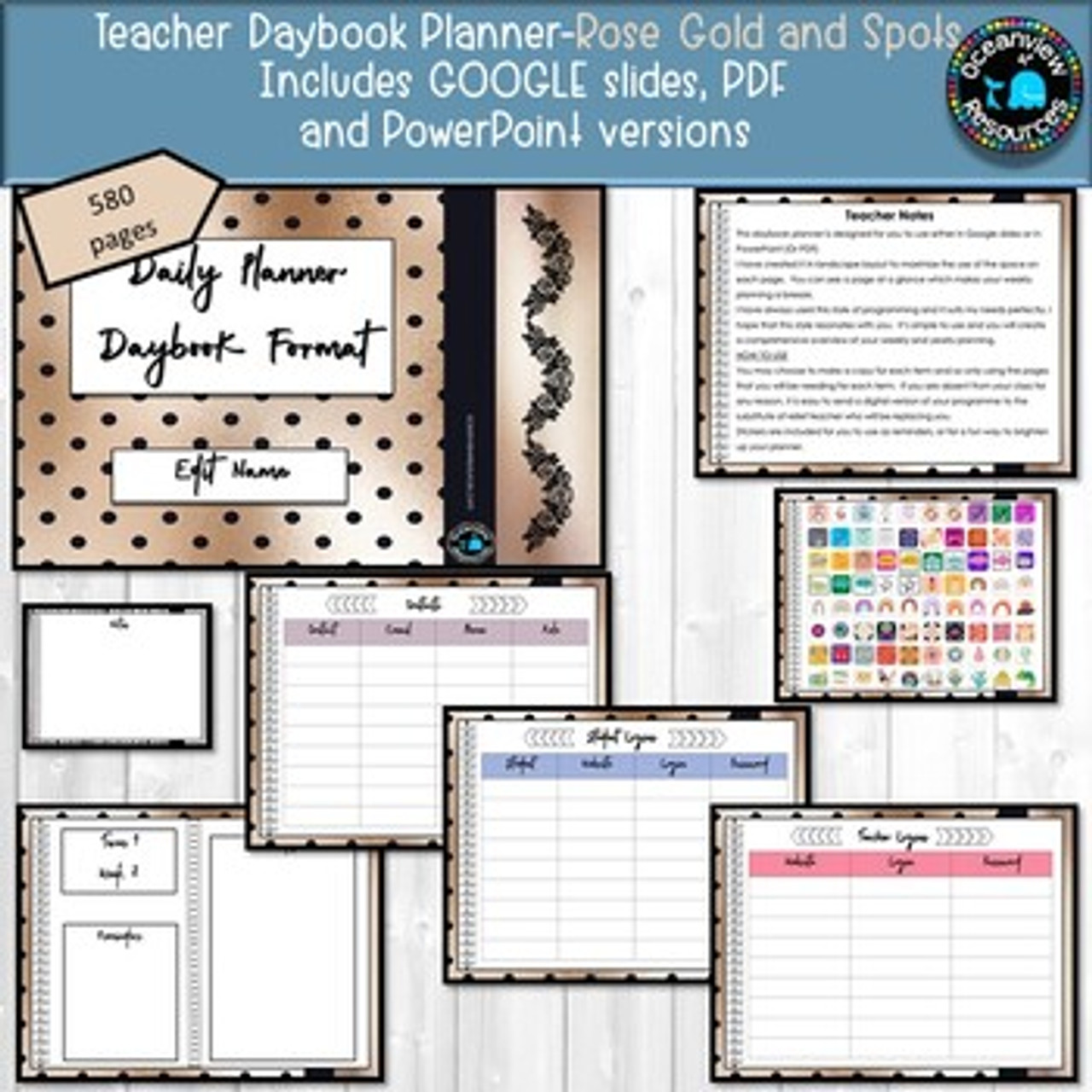 Planner for Teachers-GOLD AND NAVY