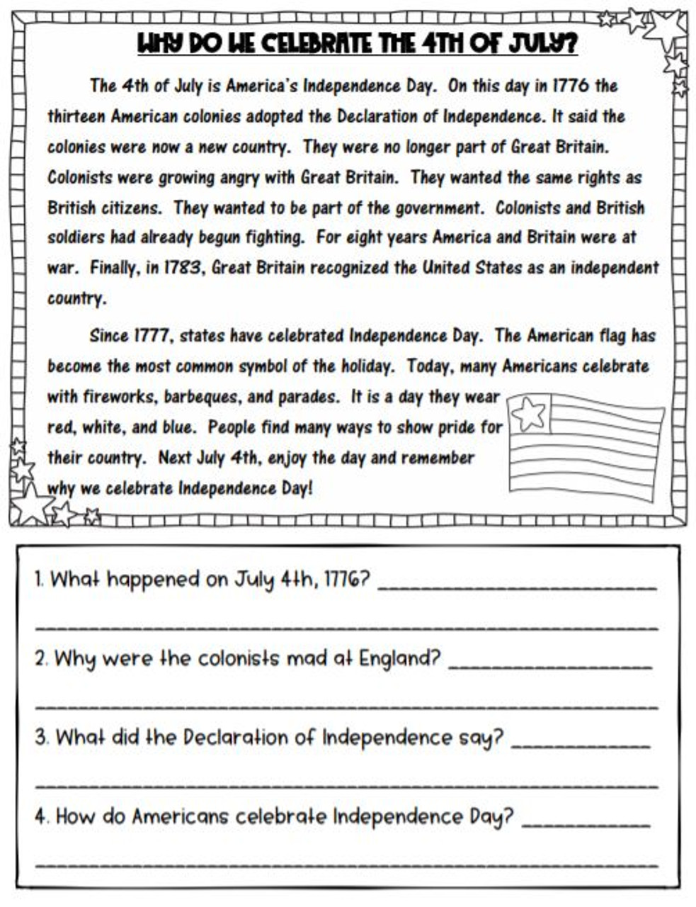 - 4th Of July Reading Passage With Comprehension Questions - Amped