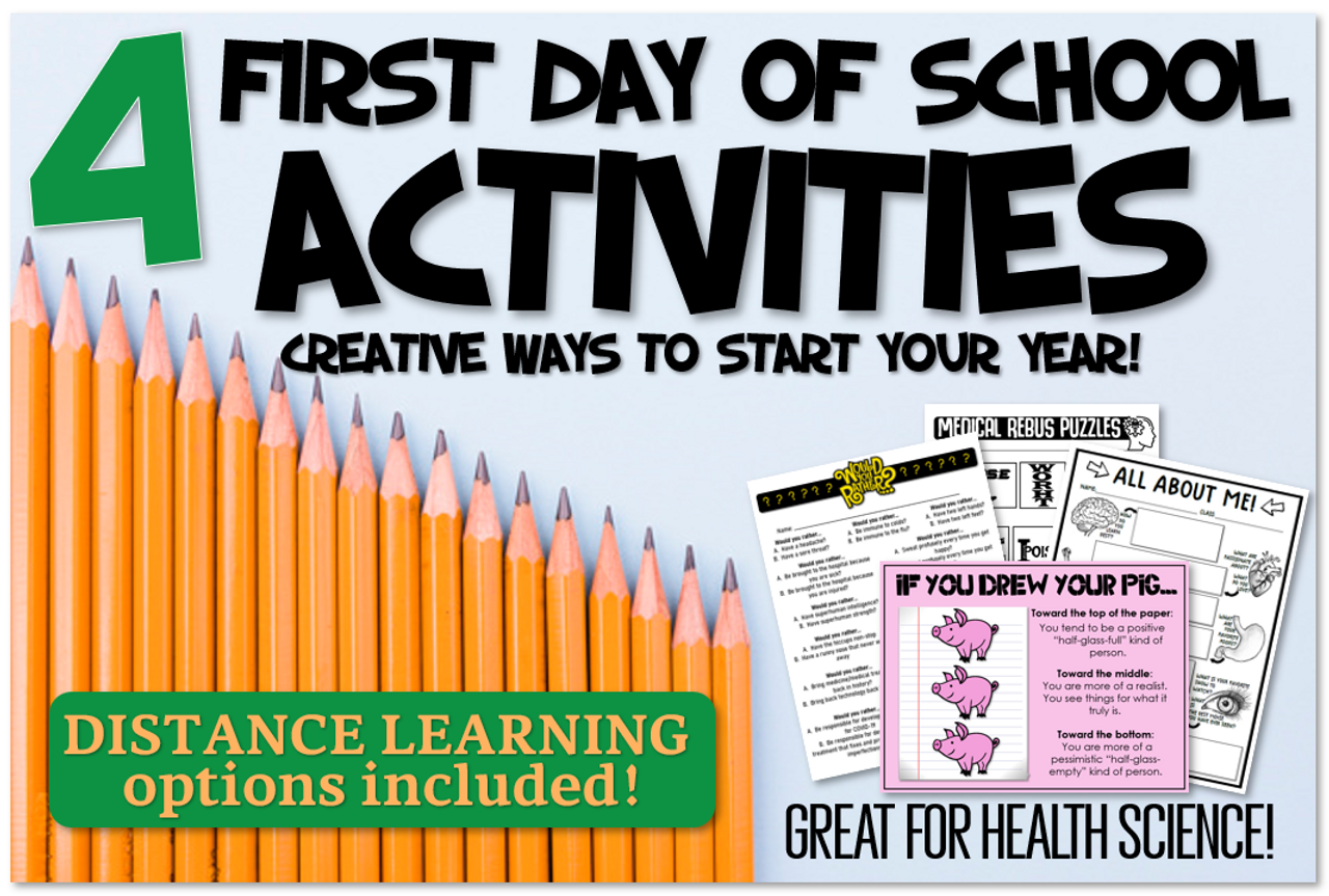 4 First Day Activities!- Digital Versions Included! Great for Health Science!