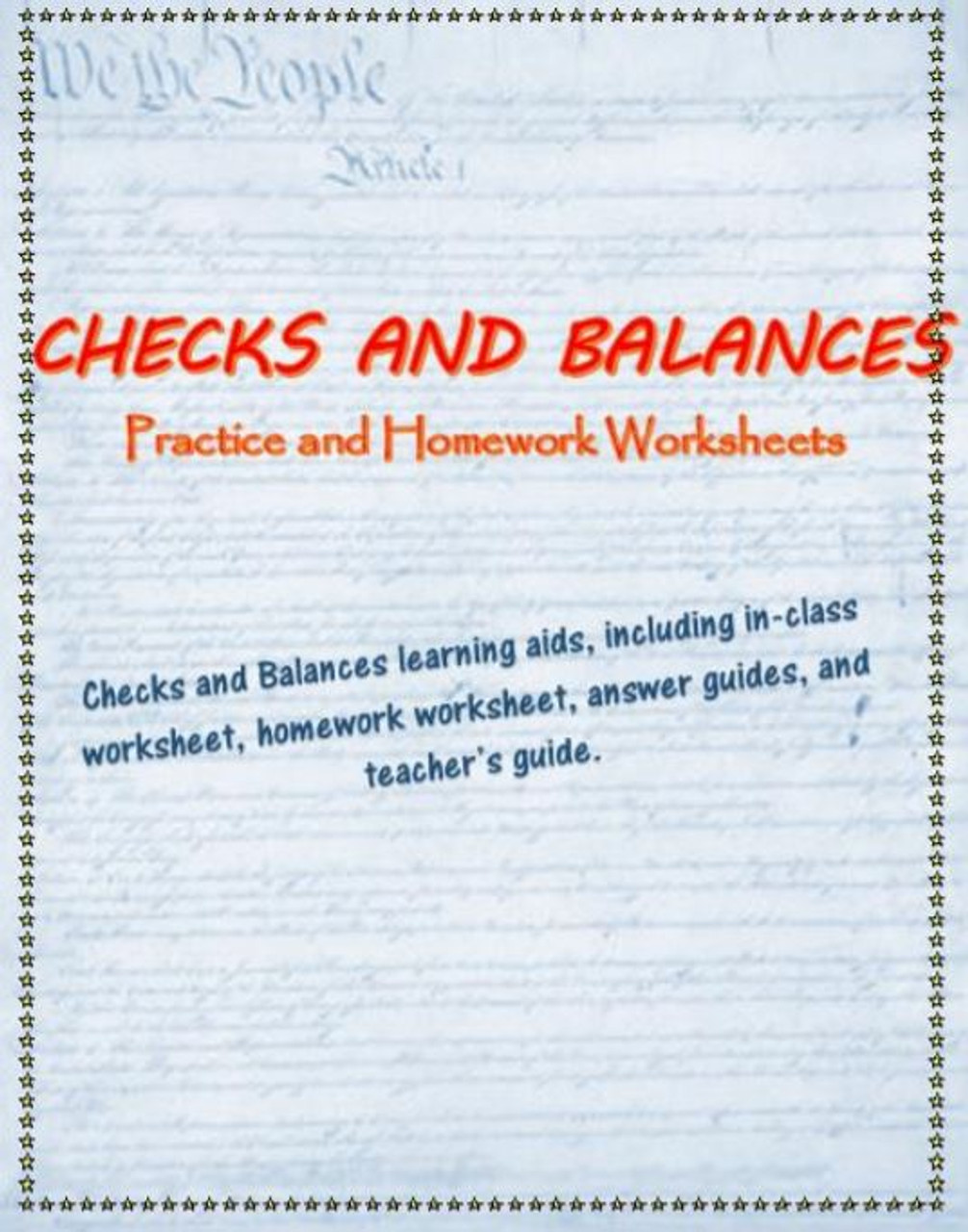 Checks and Balances practice worksheets