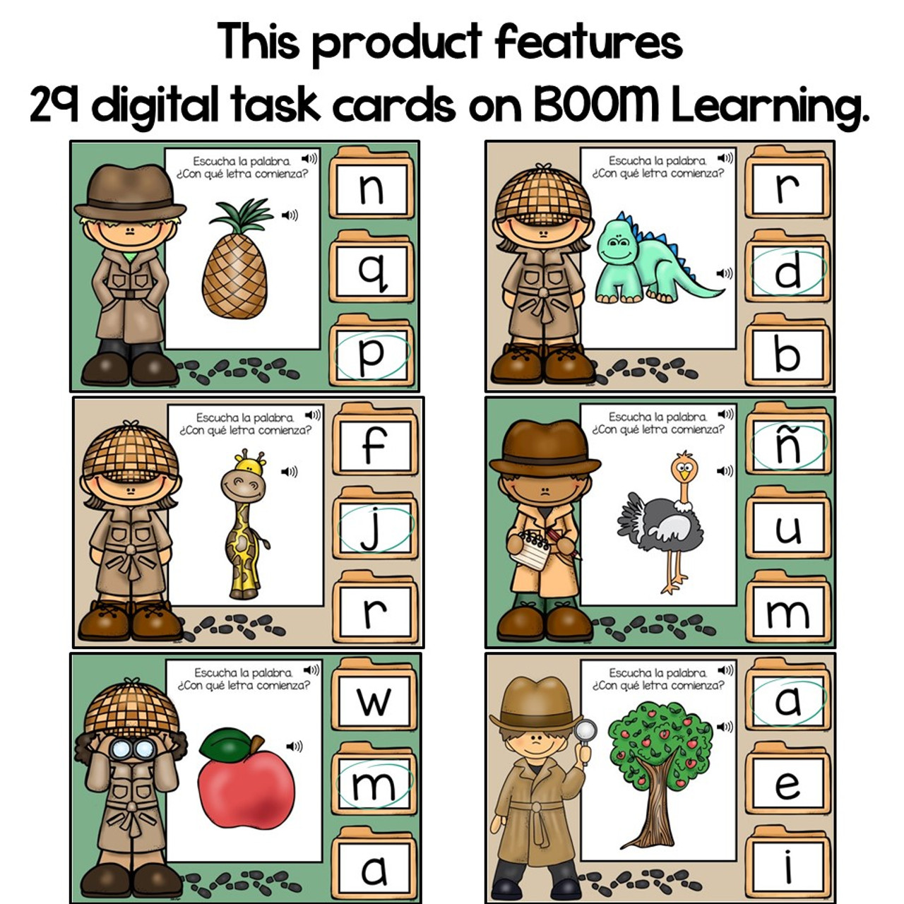 BOOM Cards Beginning Sounds in Spanish- Sonidos iniciales (Distance Learning)