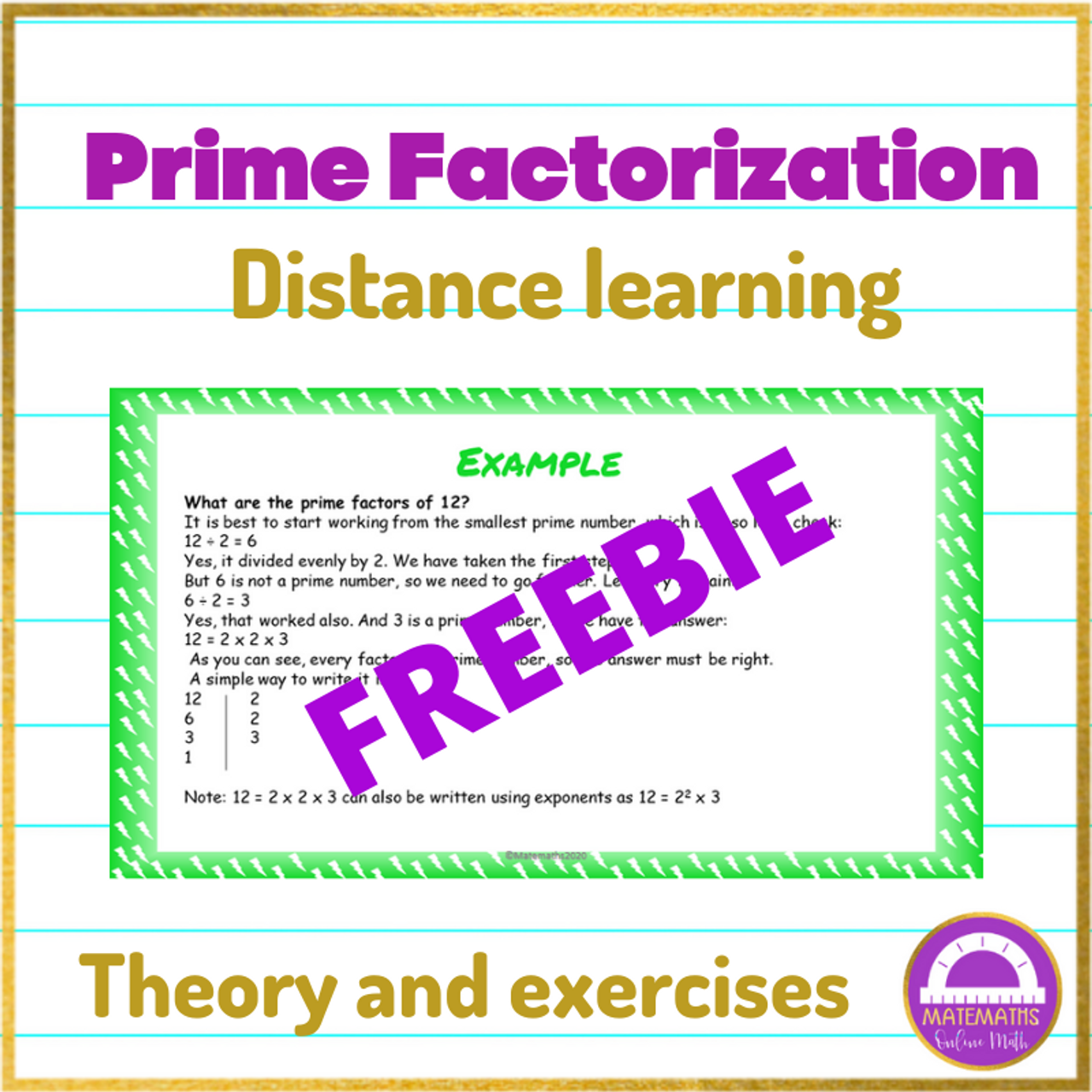 FREEBIE Distance Learning Maths Prime Factorization Online Lesson