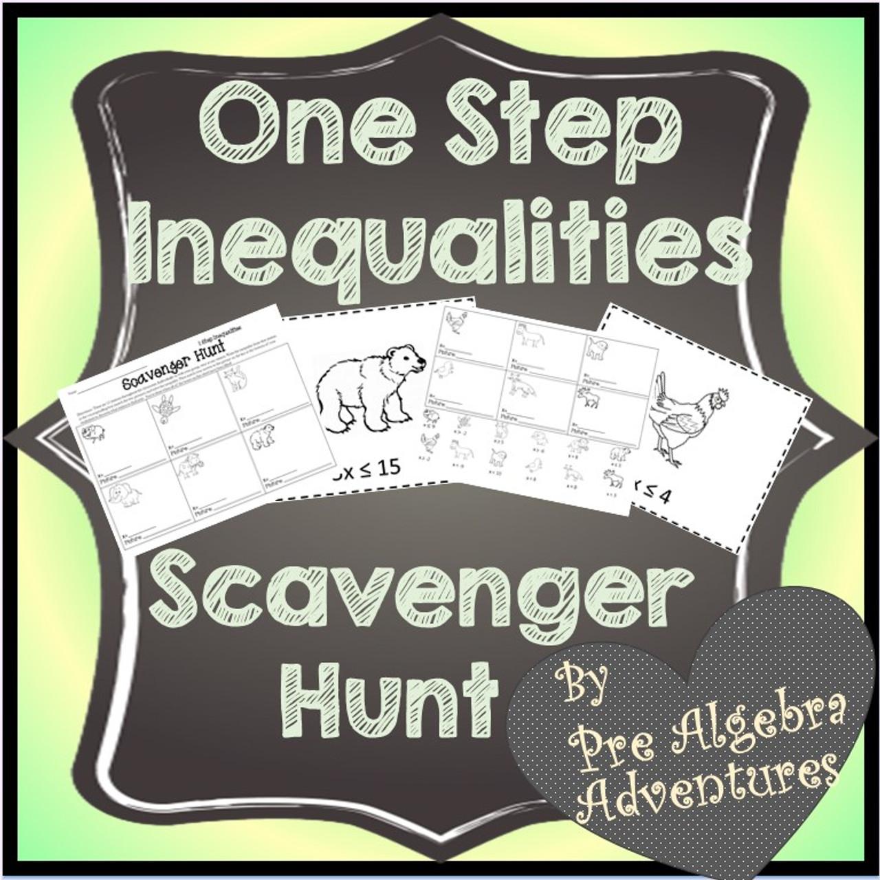 One Step Inequalities Scavenger Hunt