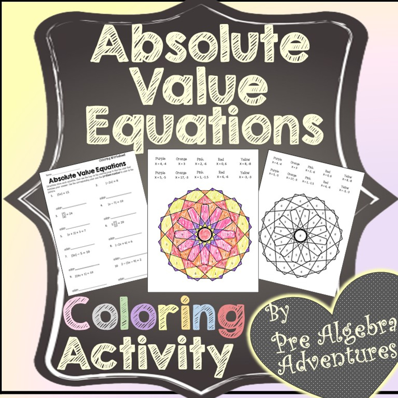 Absolute Value Equations Coloring Activity