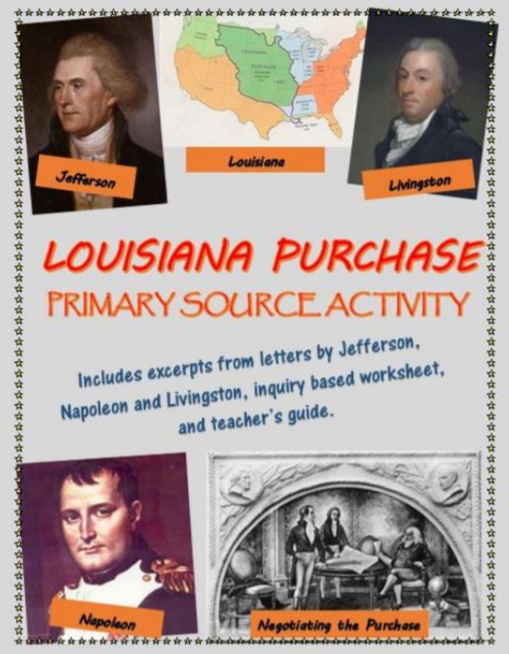 Louisiana Purchase primary source analysis activity