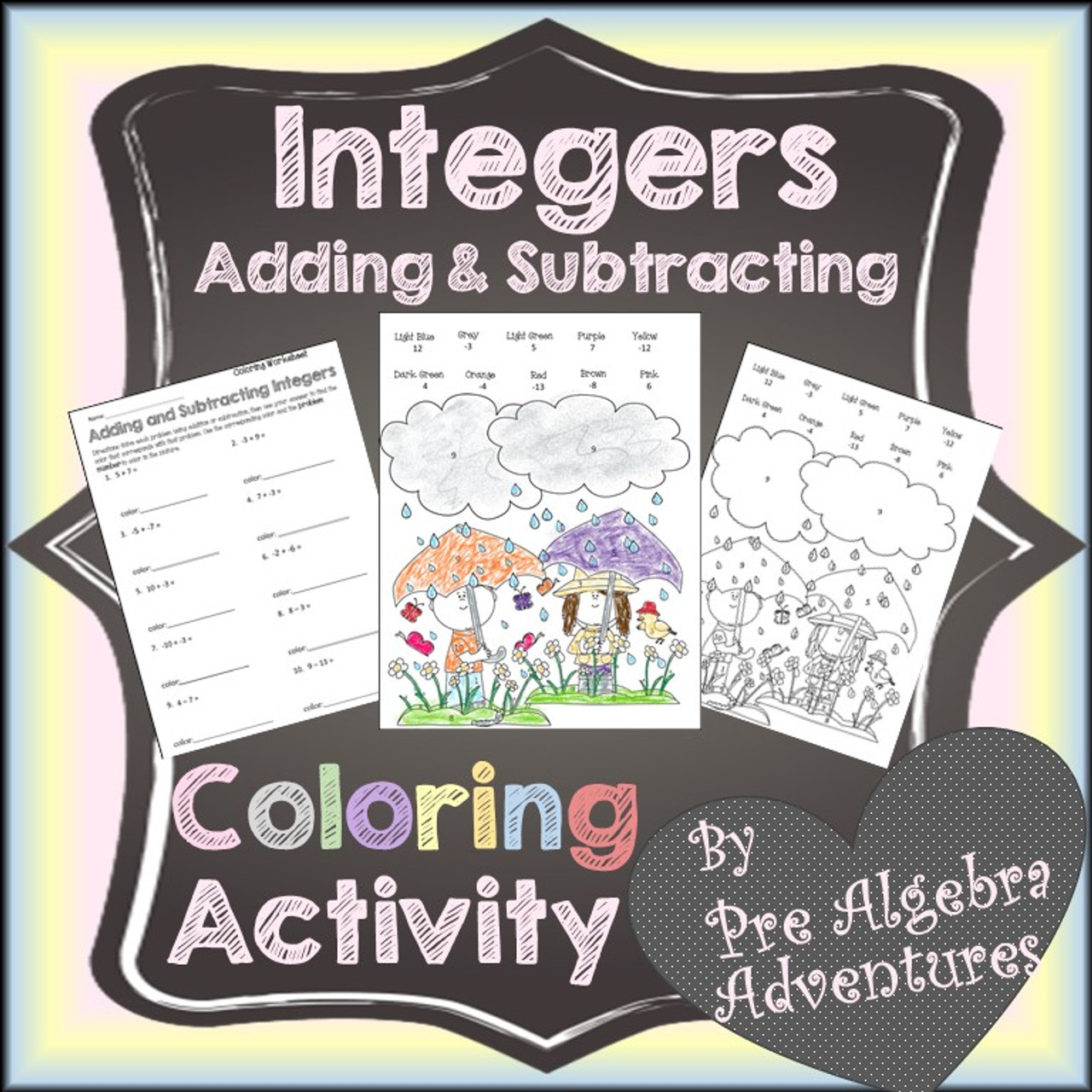 Adding & Subtracting Integers Coloring Activity