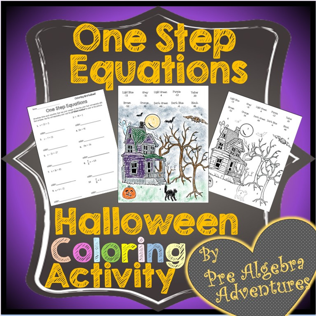 Halloween One Step Equations Coloring Activity