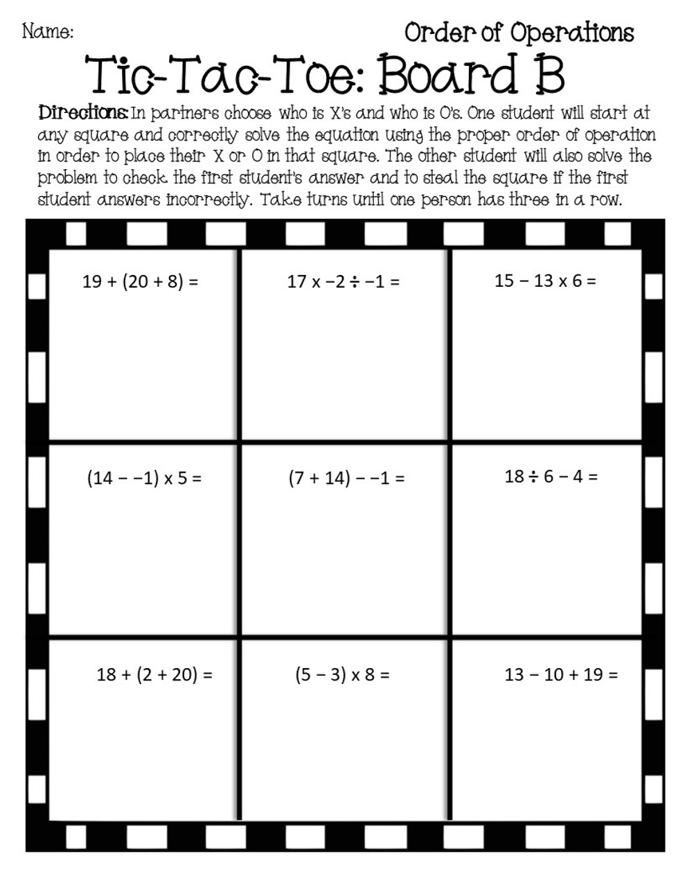Order of Operations Tic Tac Toe Game