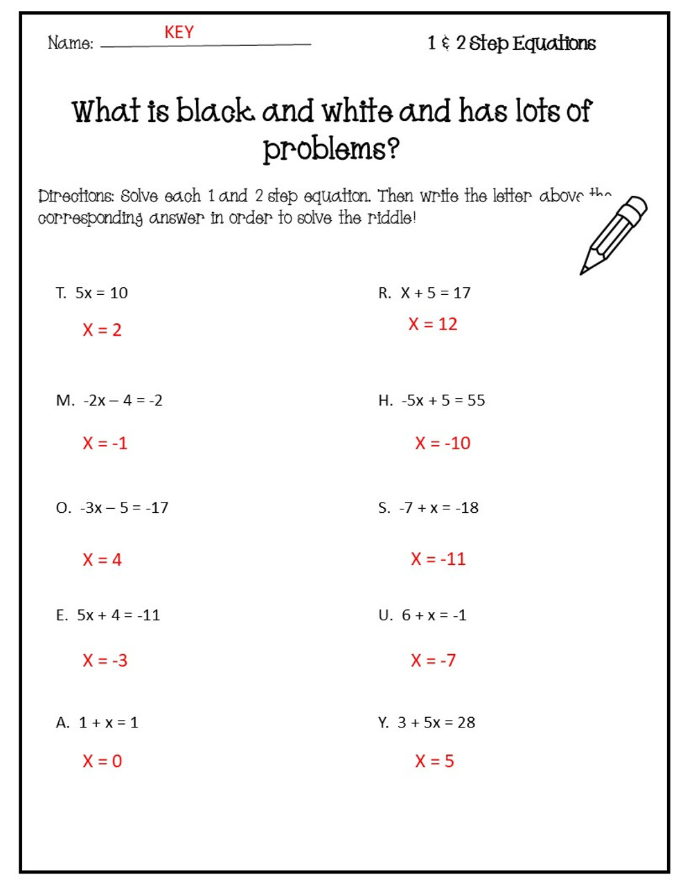Solving One & Two Step Equations Riddle Activity