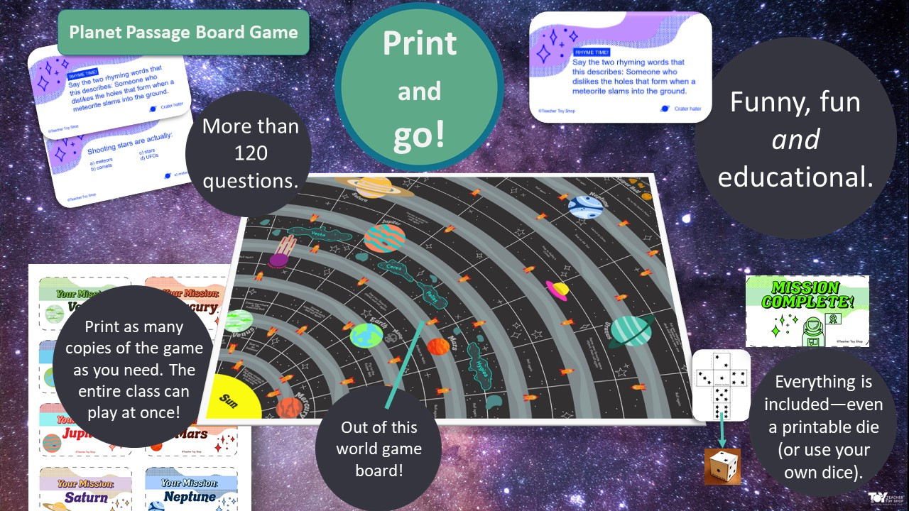 Printable Space Board Game | Distance Learning