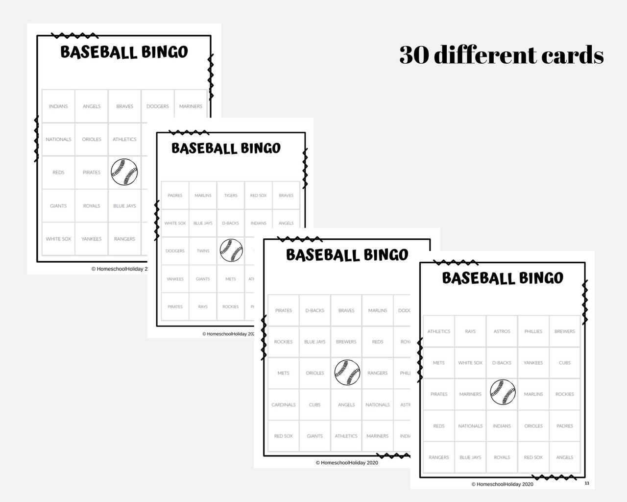 Baseball Bingo - 30 cards with Major League Baseball Teams FREEBIE