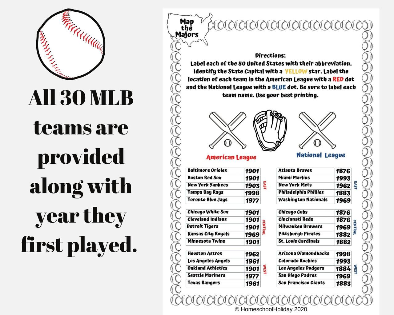 Map Major League Baseball Teams & State Capitals - Hump Day Sale