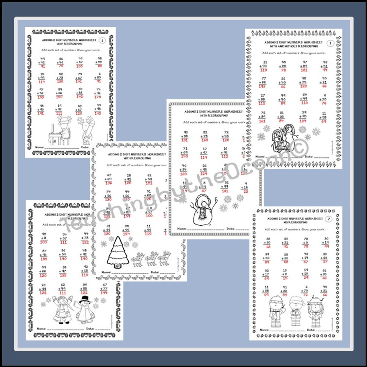 Adding 2 Digit Numbers Worksheets - Winter / Christmas Themed