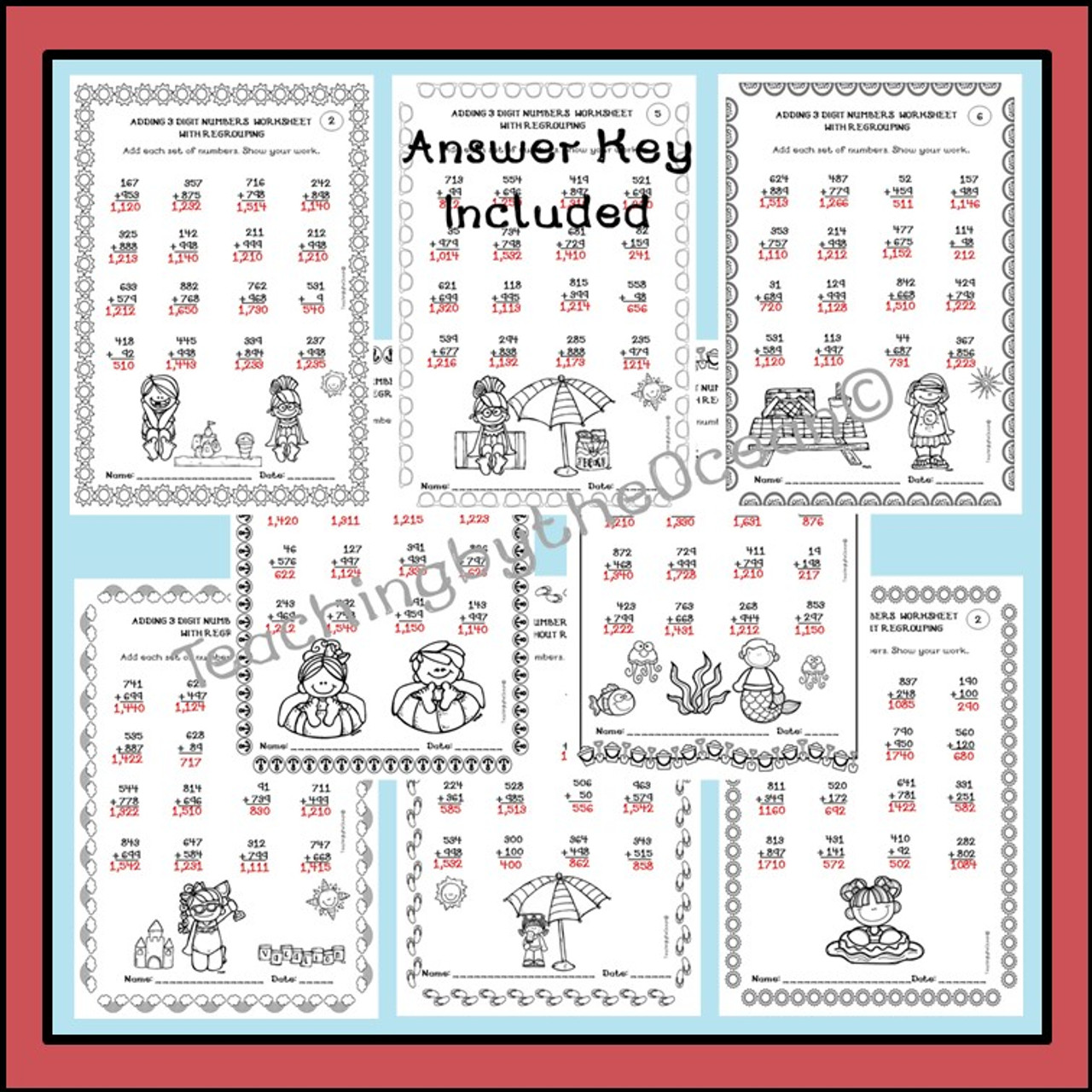 Adding 3 Digit Numbers Worksheets - Summer Themed
