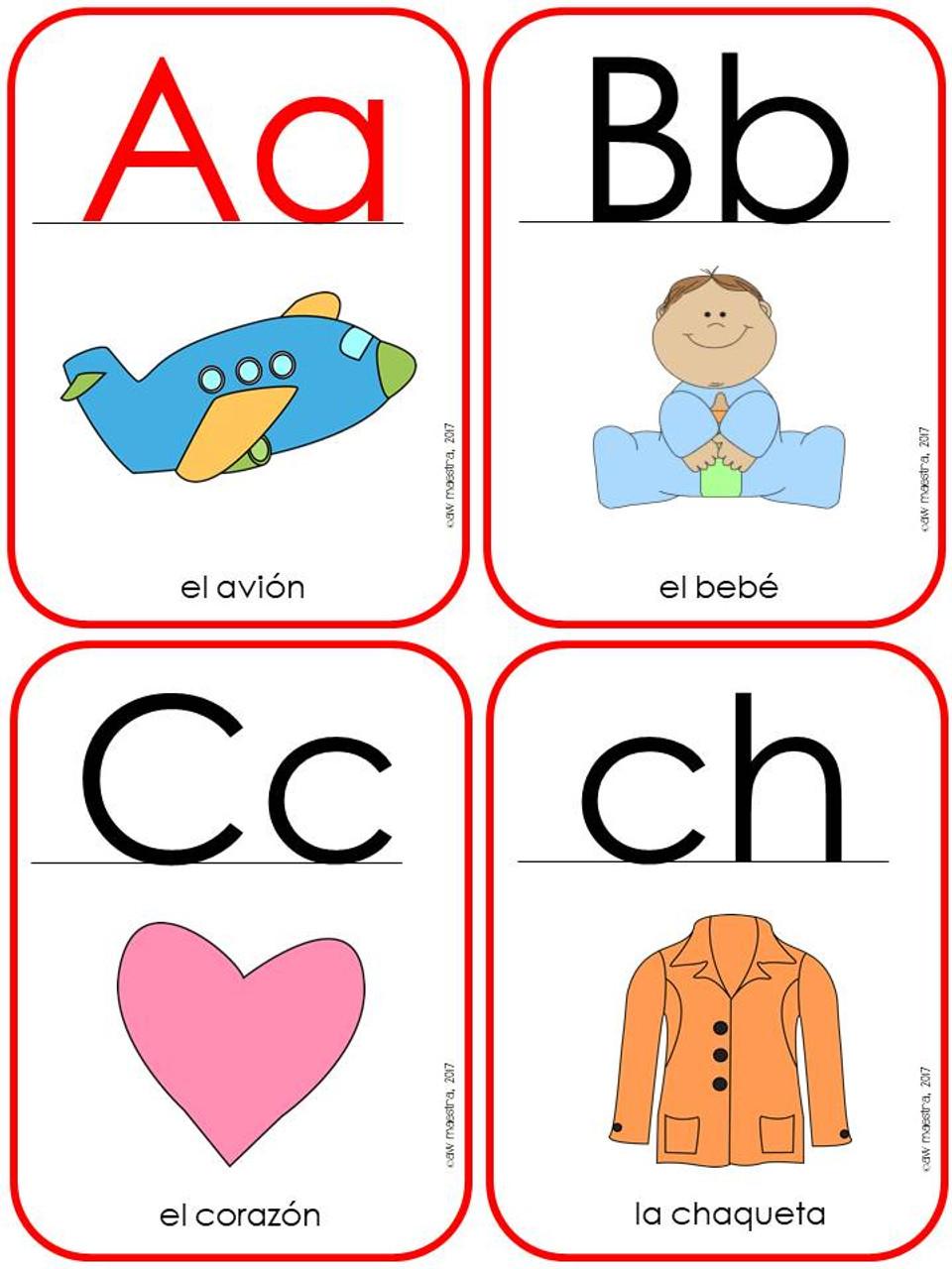Spanish Alphabet Posters, ABC Flash Cards, Initial Sounds Chart - El alfabeto y sonidos iniciales