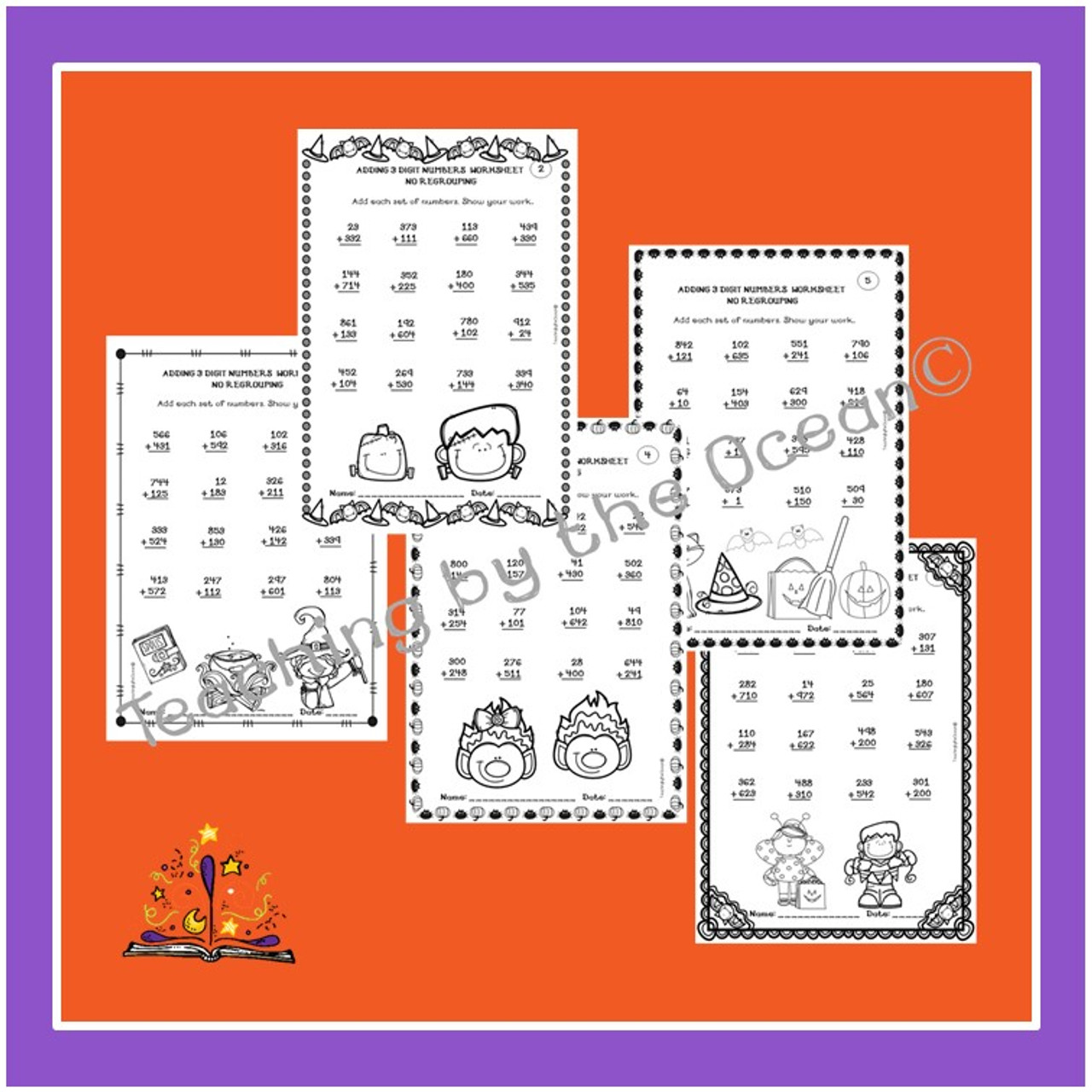 Adding 3 Digit Numbers Worksheets - Halloween Themed