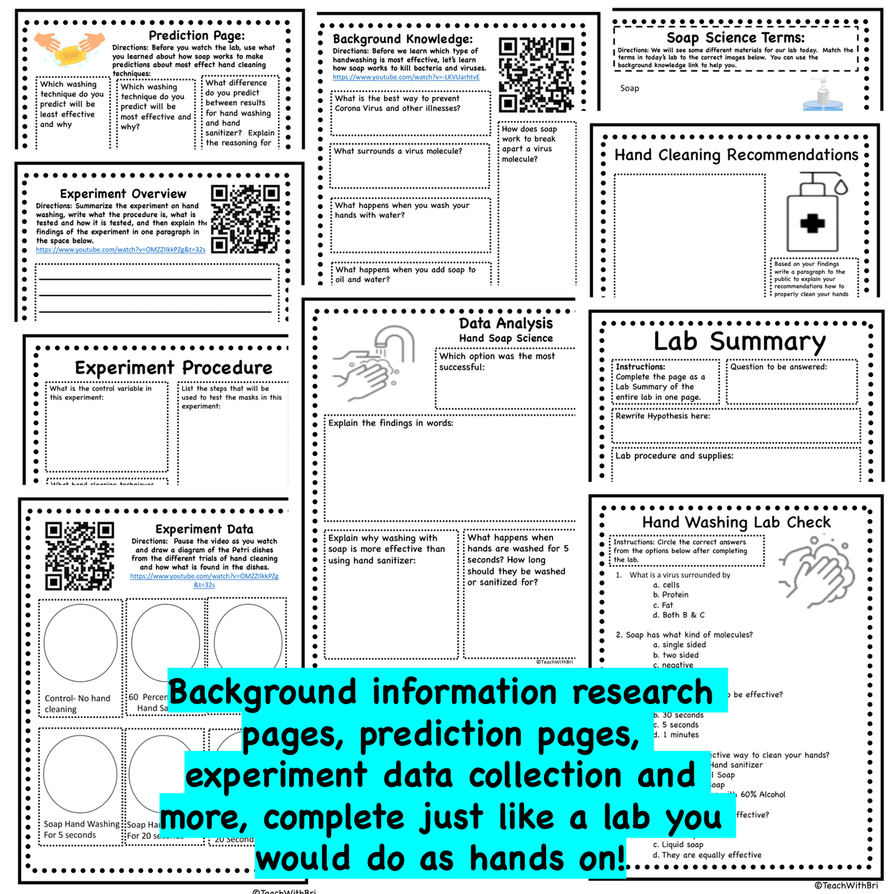 Virtual Science Lab- Soap Science and Hand Washing- Digital Version and PDF Version Included
