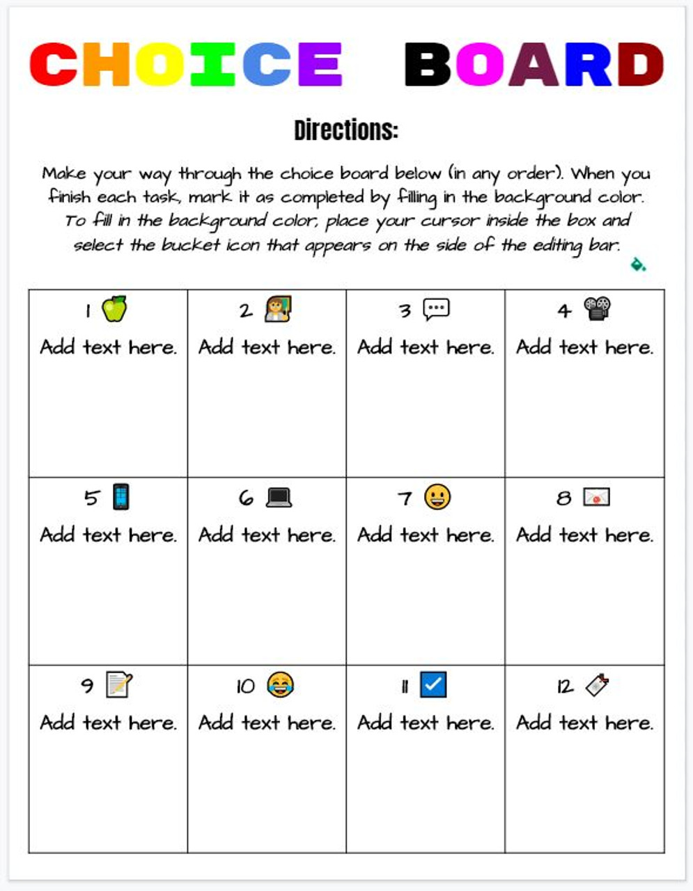 Choice Board Template for any subject - online learning friendly!