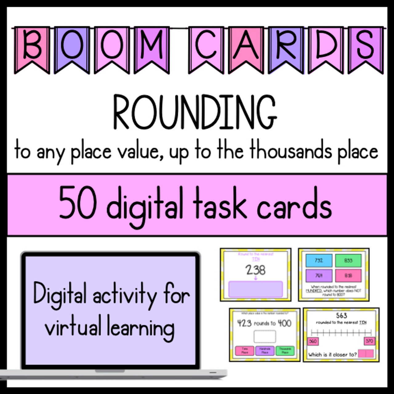 3rd Grade Rounding to the Thousands Digital Boom Cards for Distance Learning