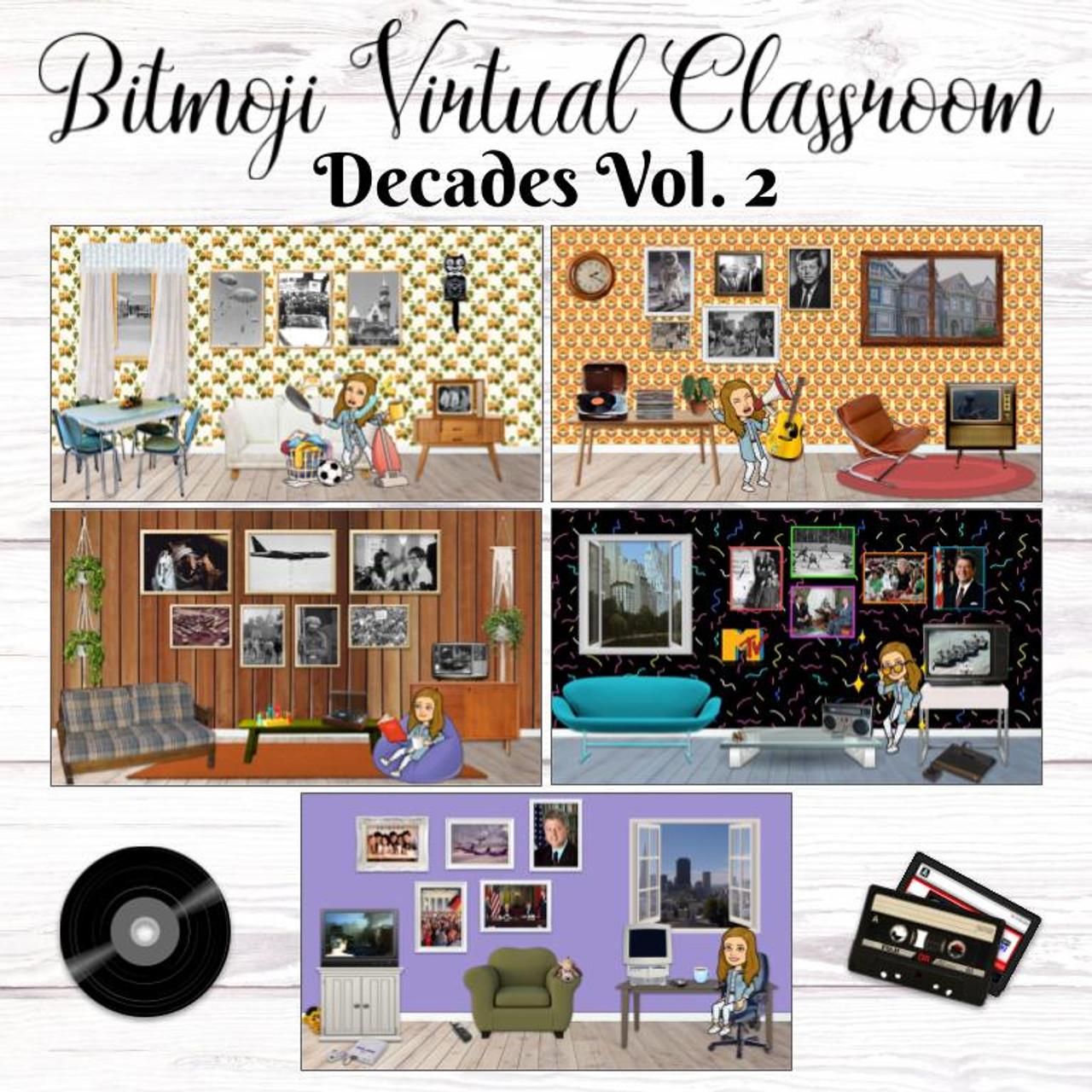 Bitmoji Virtual Classroom - Decades (1950-1990s)