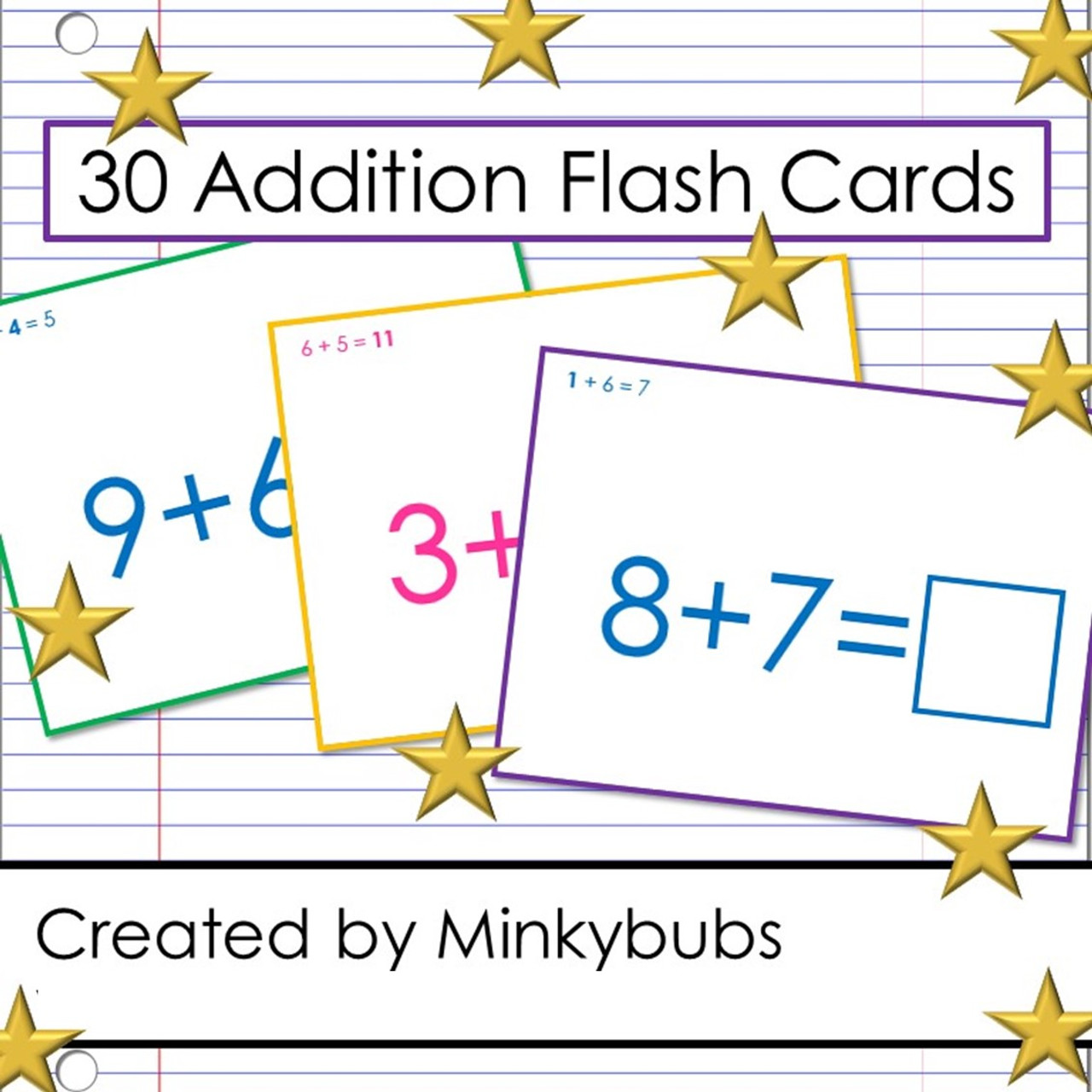 60 Addition Problems Reversible Flash Cards with Single-Digit Addends