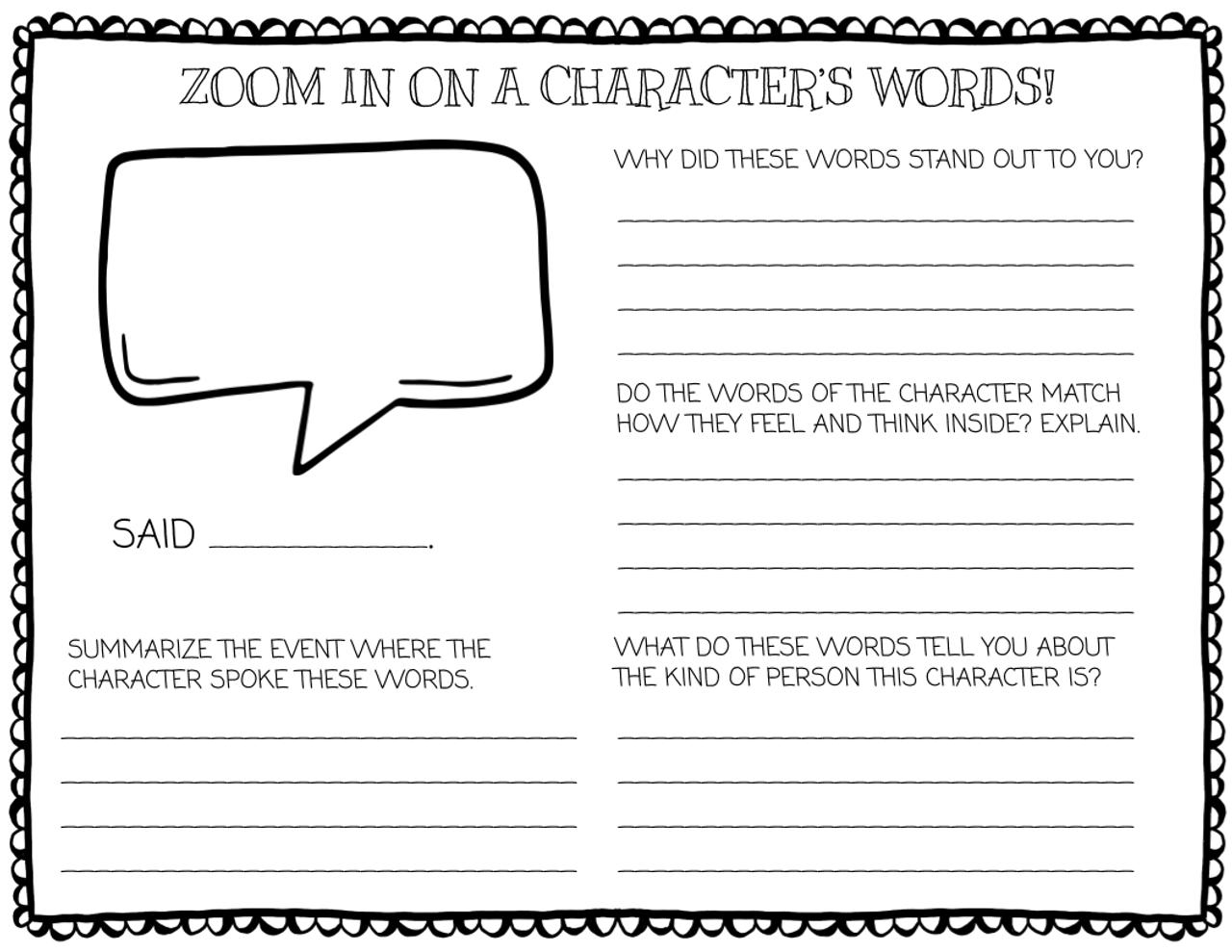 Character Traits Reading Brochure Activities