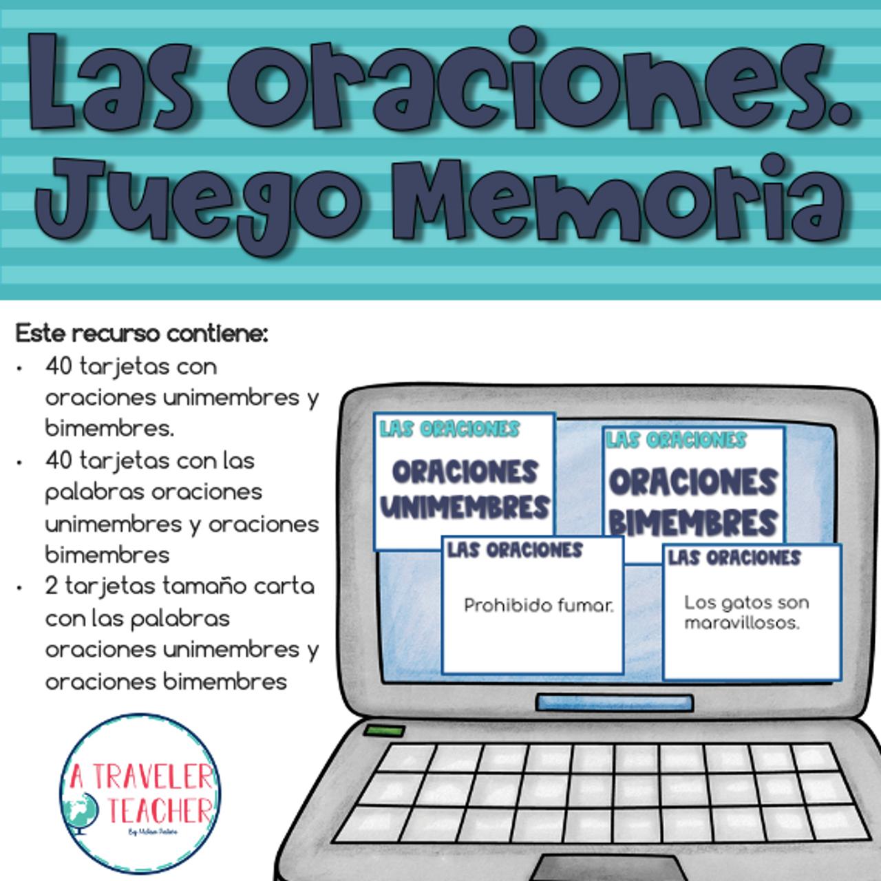 Las Oraciones Juego Memoria (Memory Game Complete Sentences in Spanish)