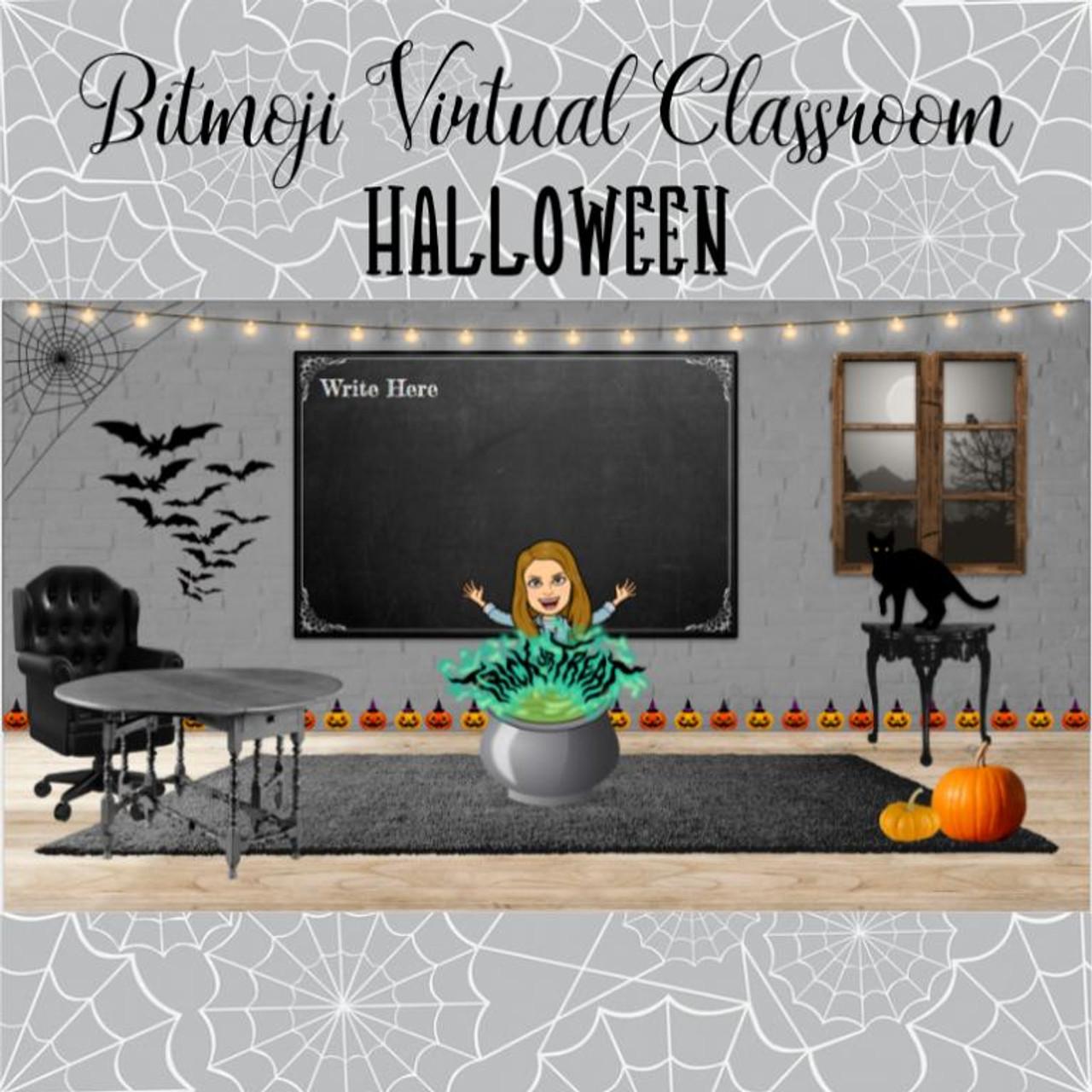 Bitmojij Virtual Classroom - Halloween - Editable