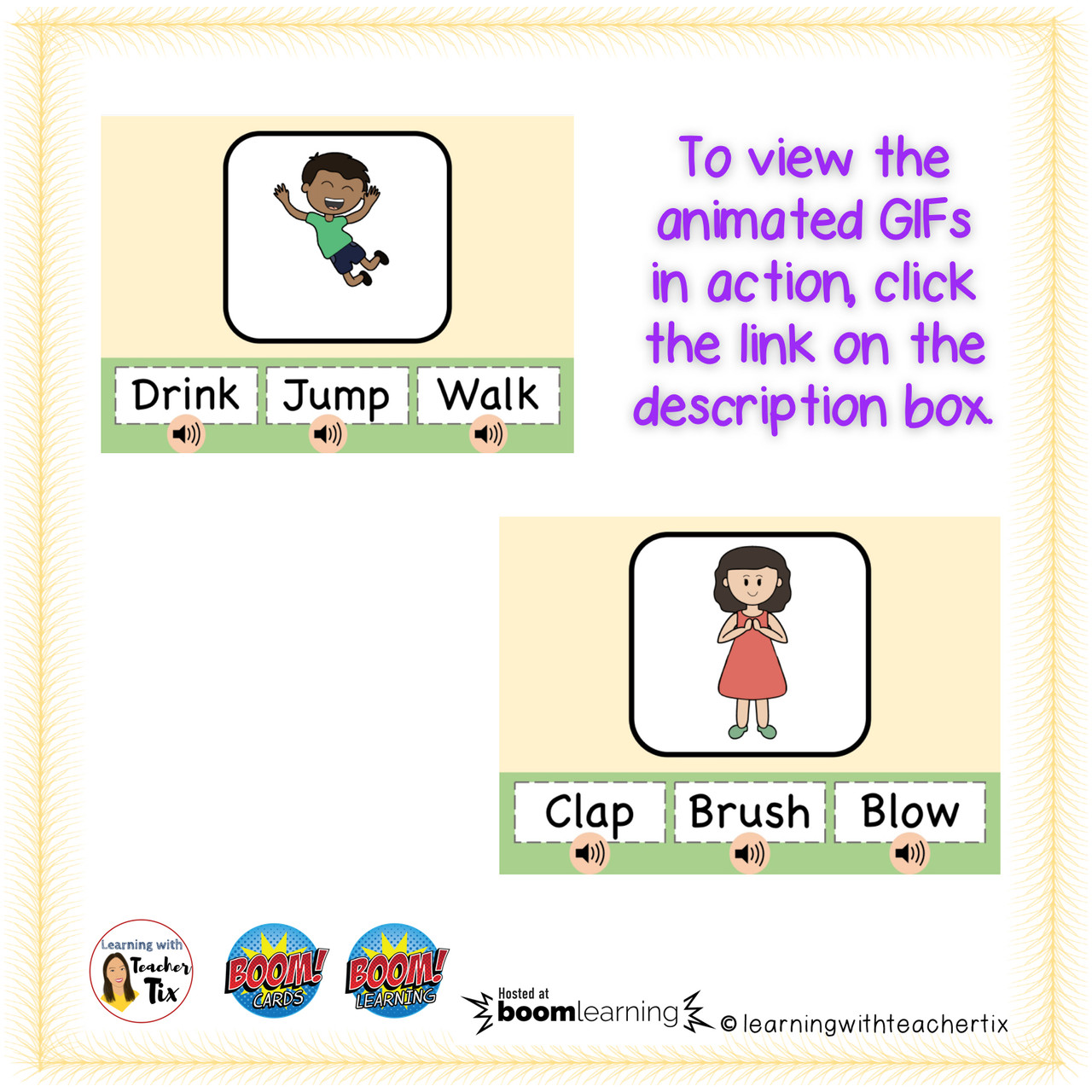 Identifying Action Words with Animated GIF Boom Cards set 1