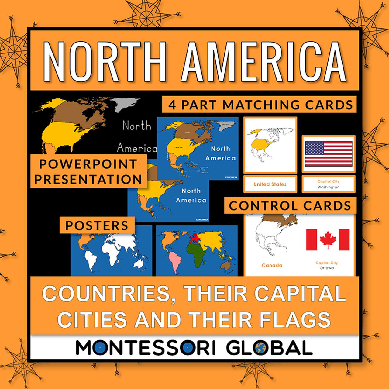 North America: Countries, Flags & Capital Cities: PowerPoint + Montessori Cards