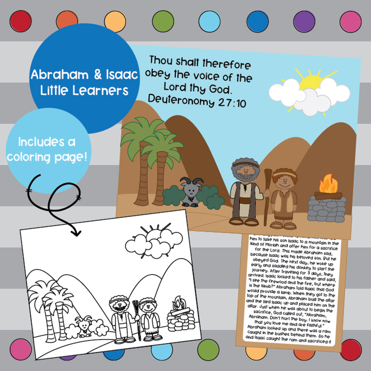 Abraham and Isaac coloring page, story card and memory verse.