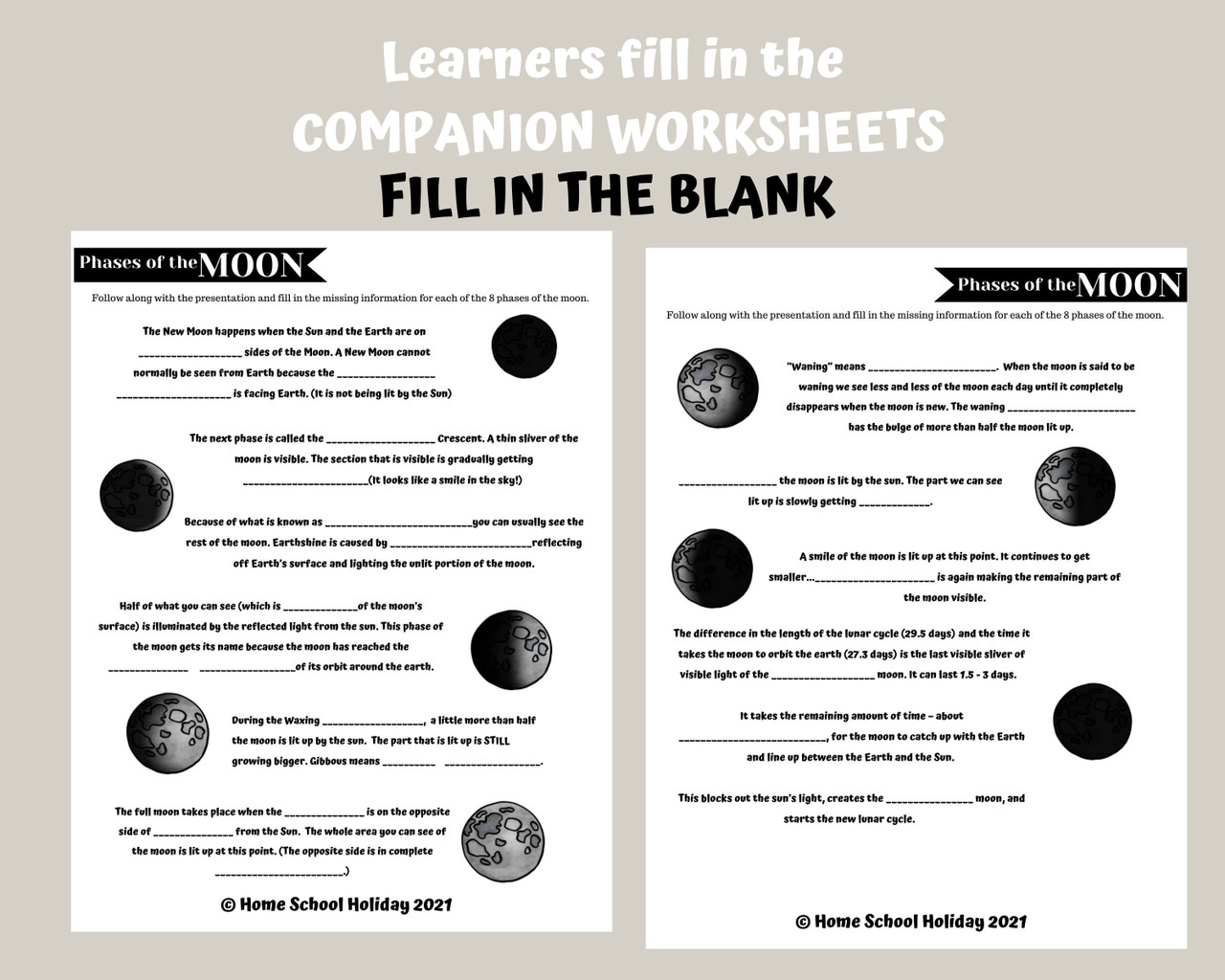 Phases of the Moon worksheets pdf