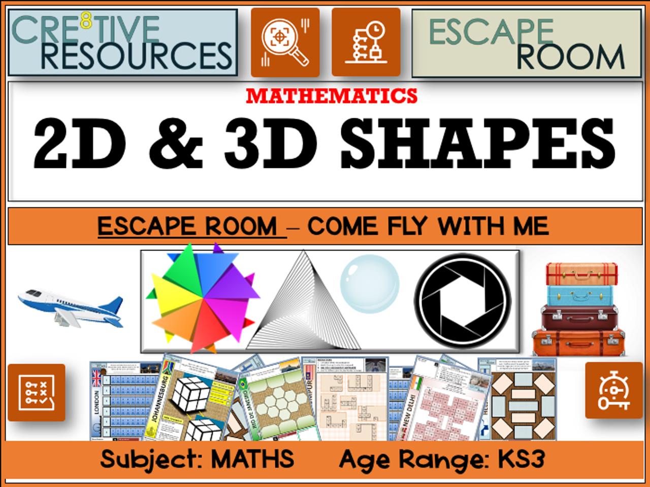 2D and 3D Shape Maths Escape Room