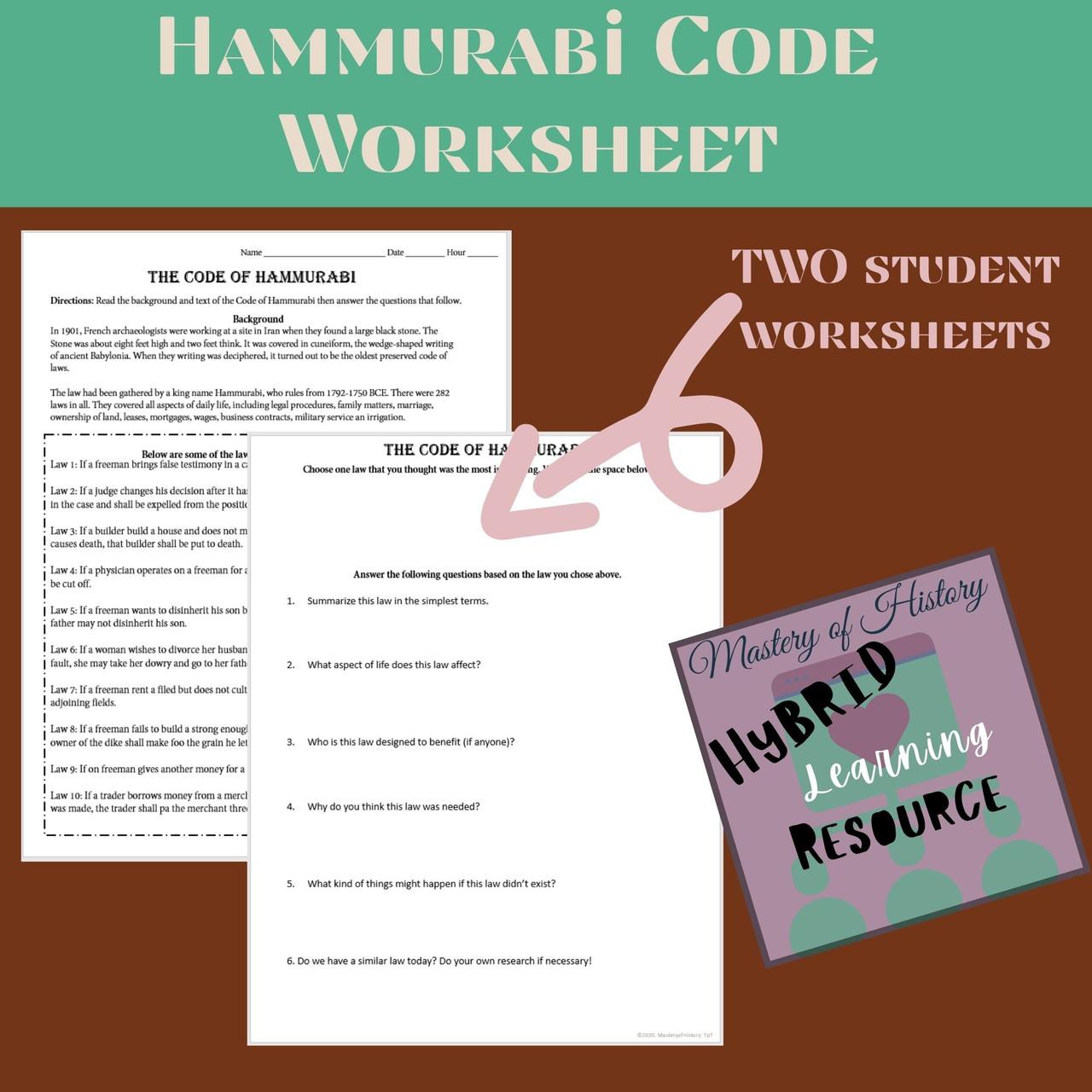 Code of Hammurabi Worksheet