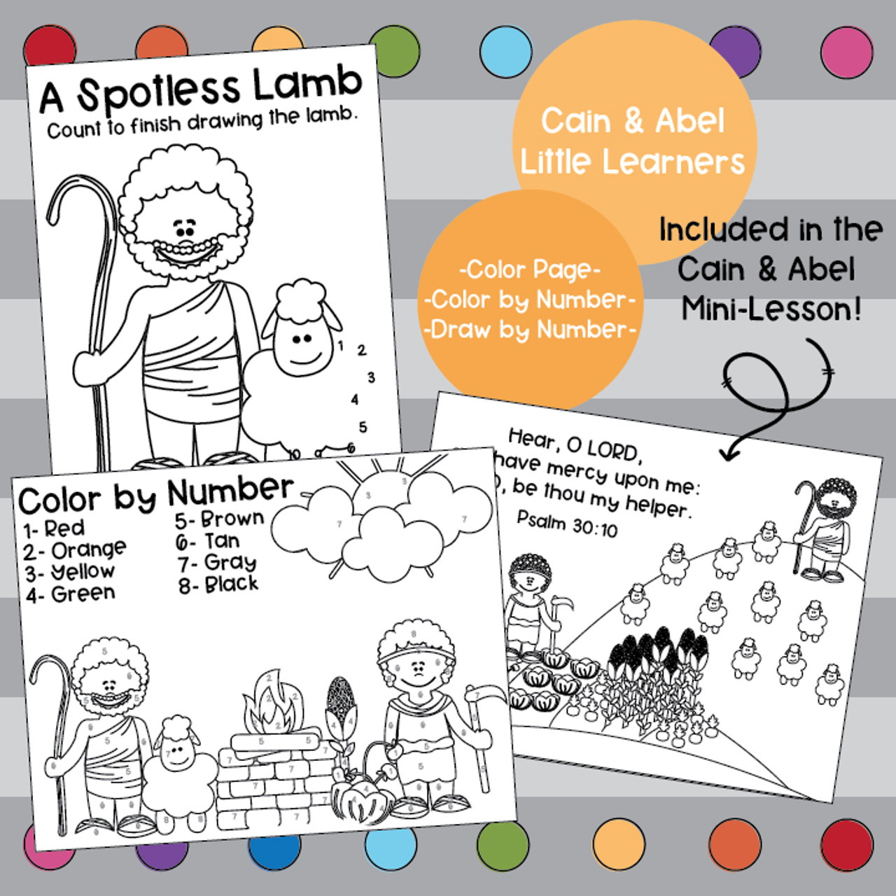 Cain and Abel Activity Pack- Little Learners Bible Lesson & Activity Packet