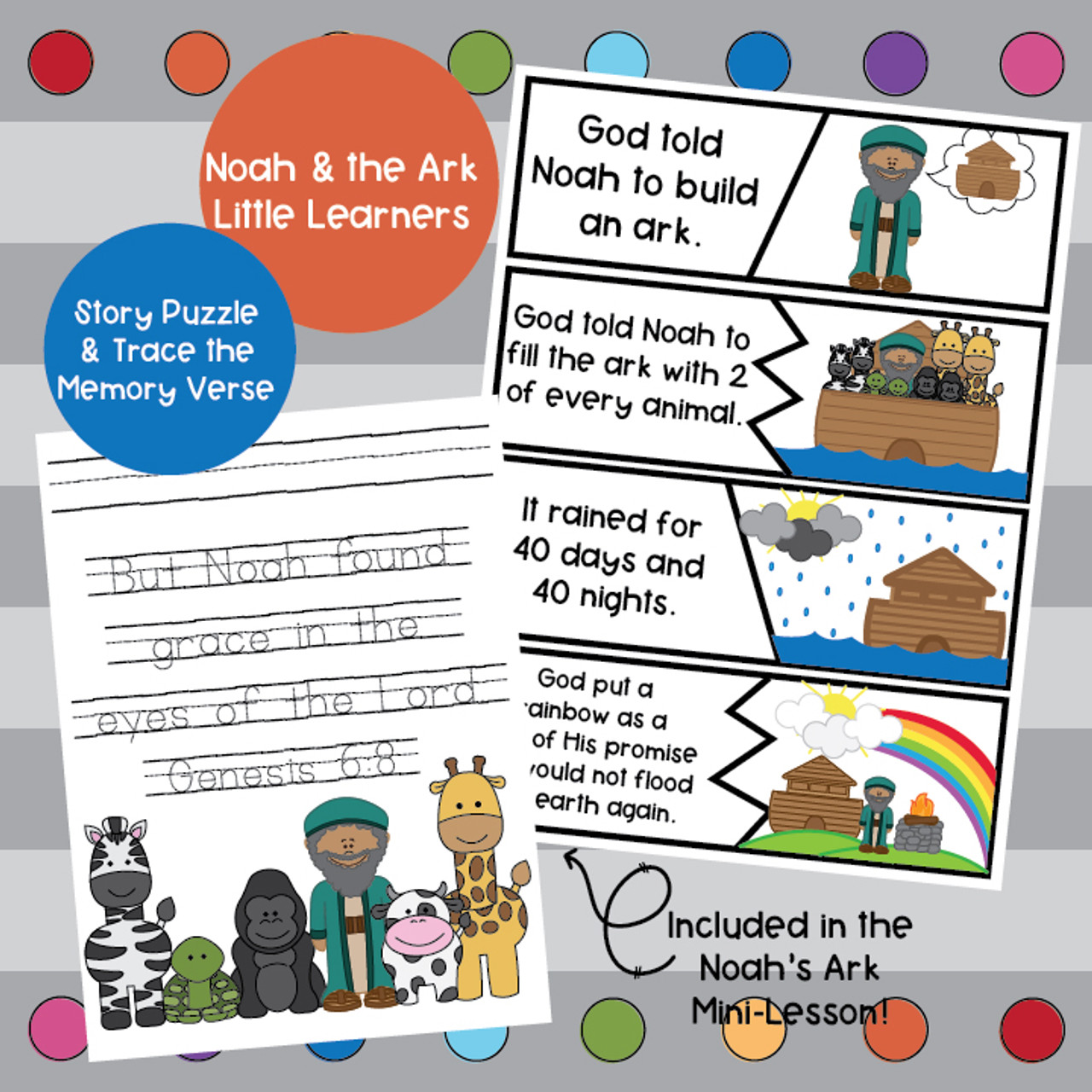Noah and the Ark Activity Pack- Little Learners Bible Lesson & Activity Packet