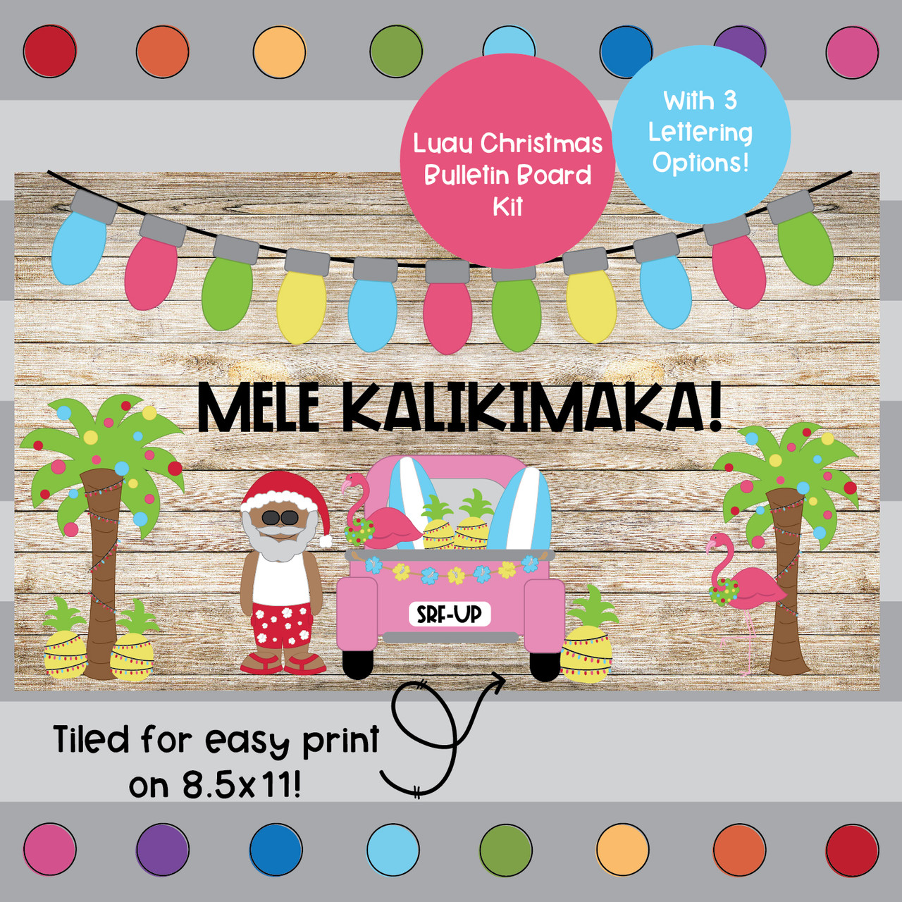 Luau Christmas- Christmas Themed Bulletin Board Kit