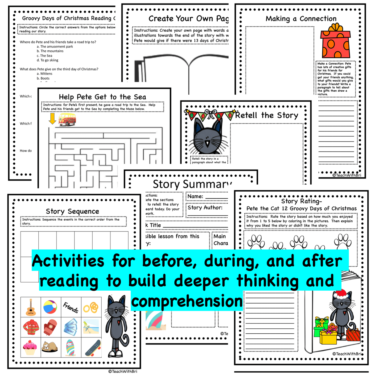 Read-A-Loud Tasks: Pete the Cat 12 Groovy Days of Christmas