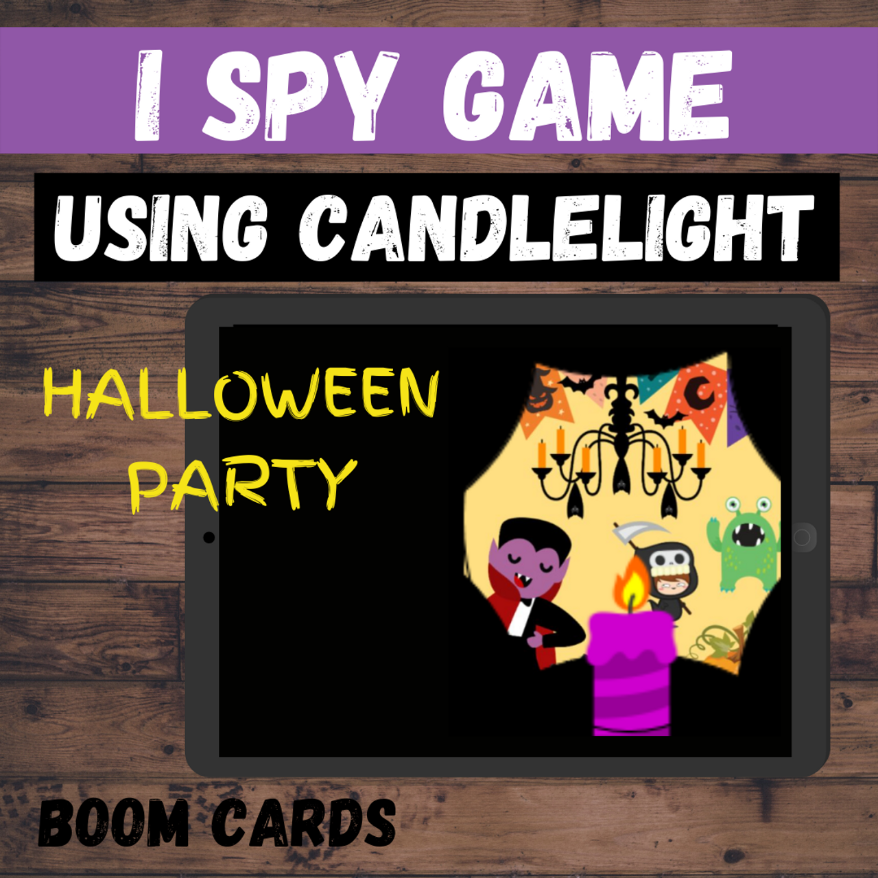Halloween I Spy Game: Using the Candlelight - BOOM CARDS Distance Learning