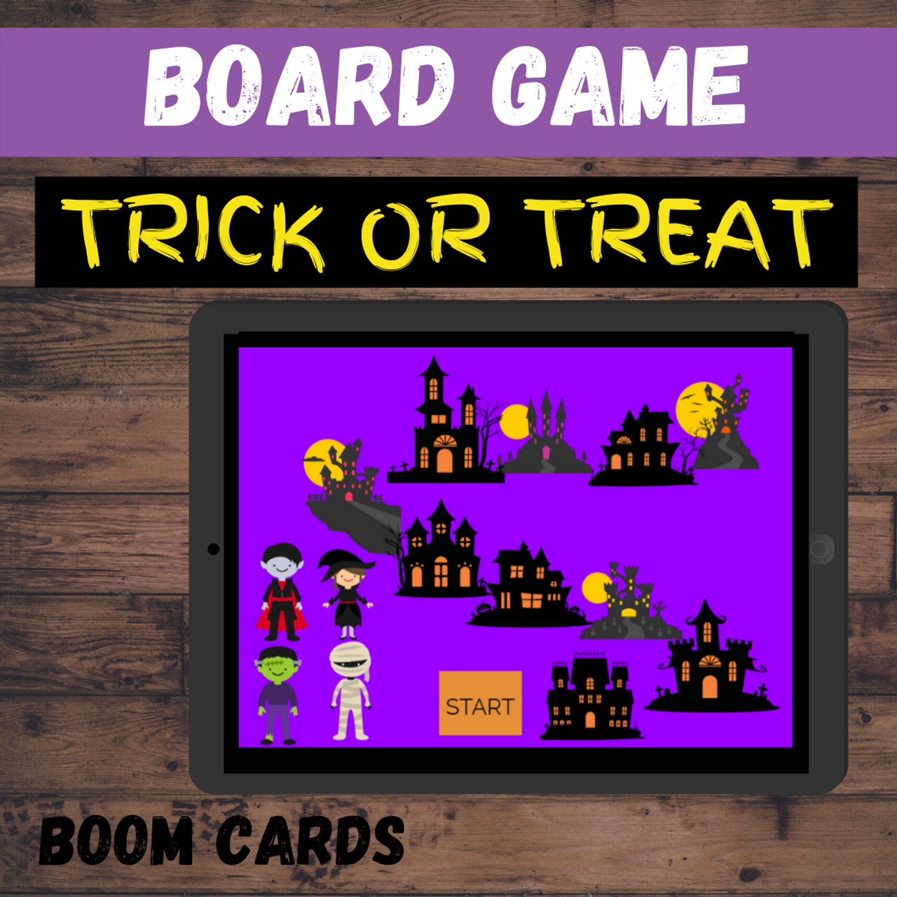 Halloween Trick or Treat Board Game Boom Cards
