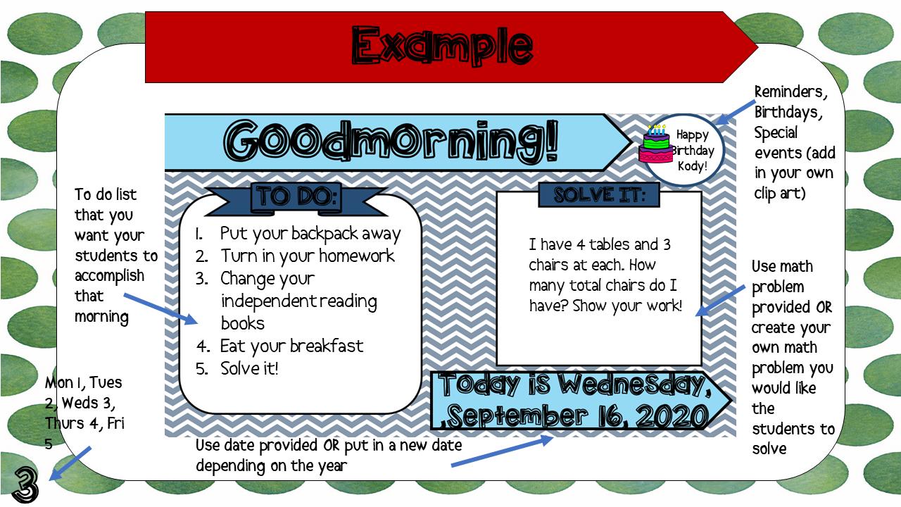 Third Grade December Editable Morning Message Solve It