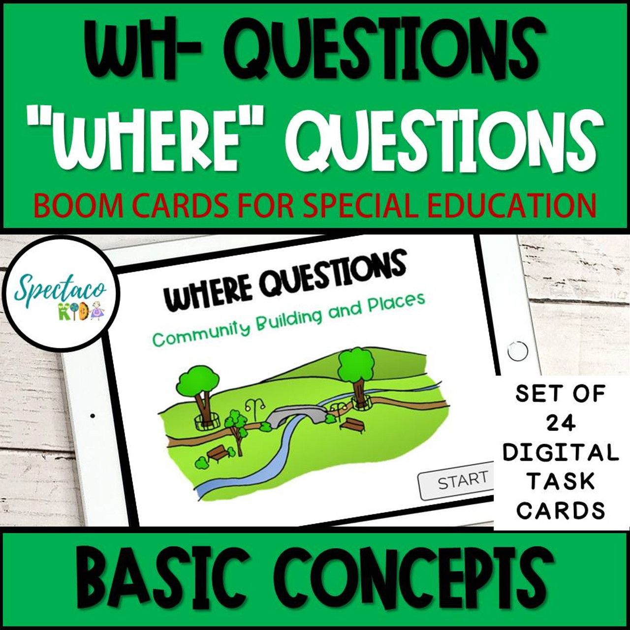 Wh Questions WHERE QUESTIONS Basic concepts BOOM Cards